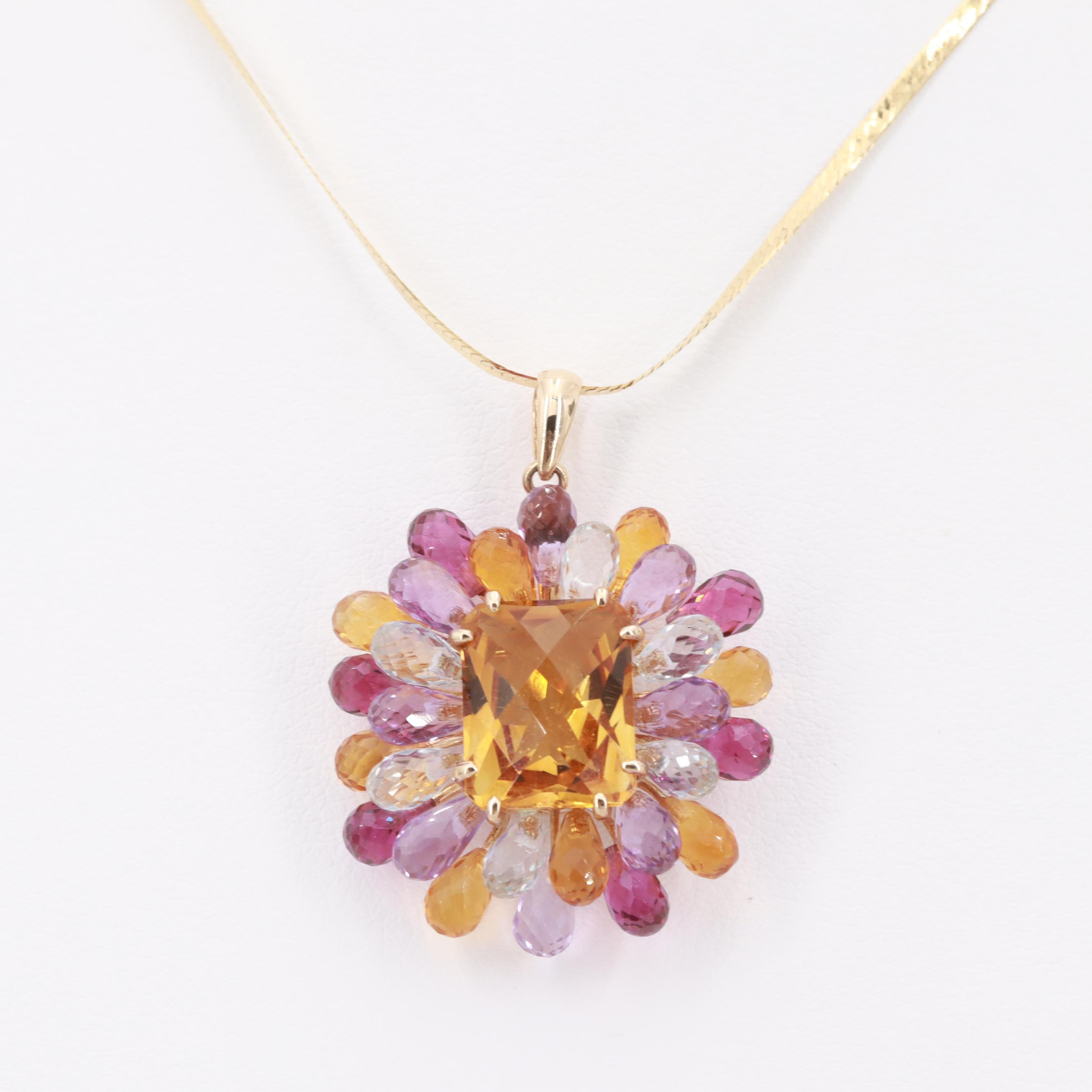 14K Yellow Gold Citrine, Amethyst and Topaz Necklace