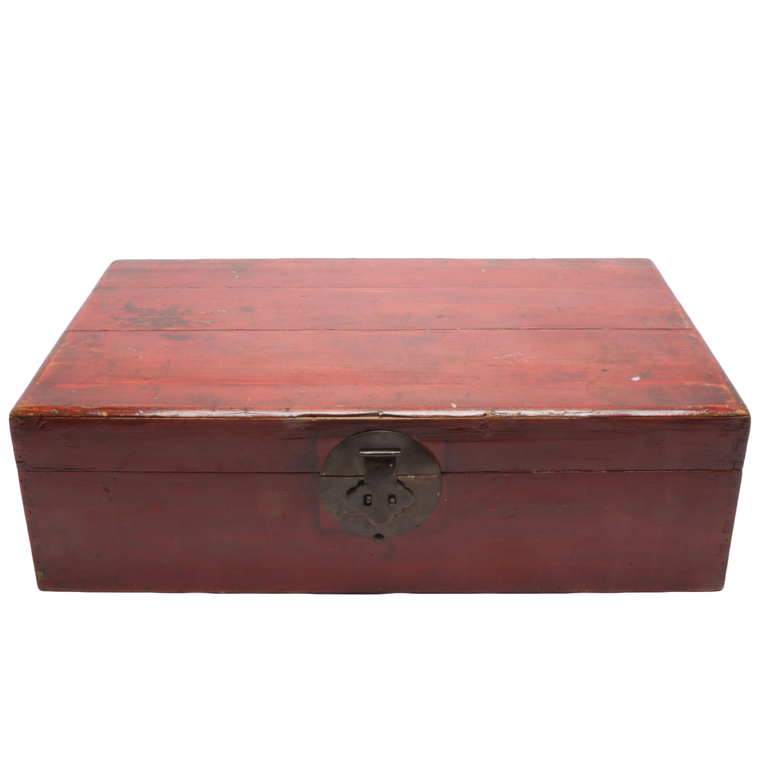 Antique Chinese Luggage Case in Red Stain Finish