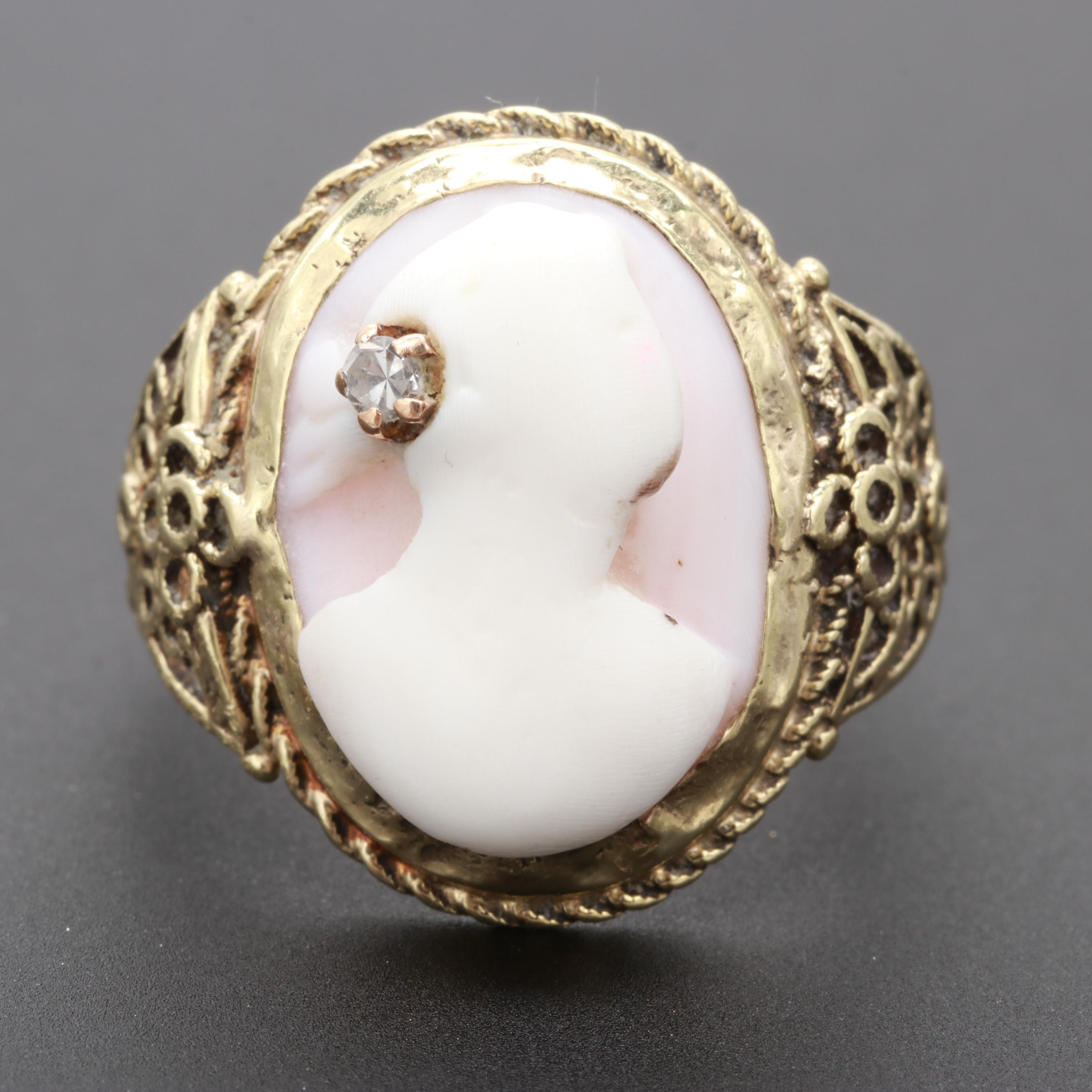 Antique Victorian Gold, Shell Cameo with  Diamond Accent Ring