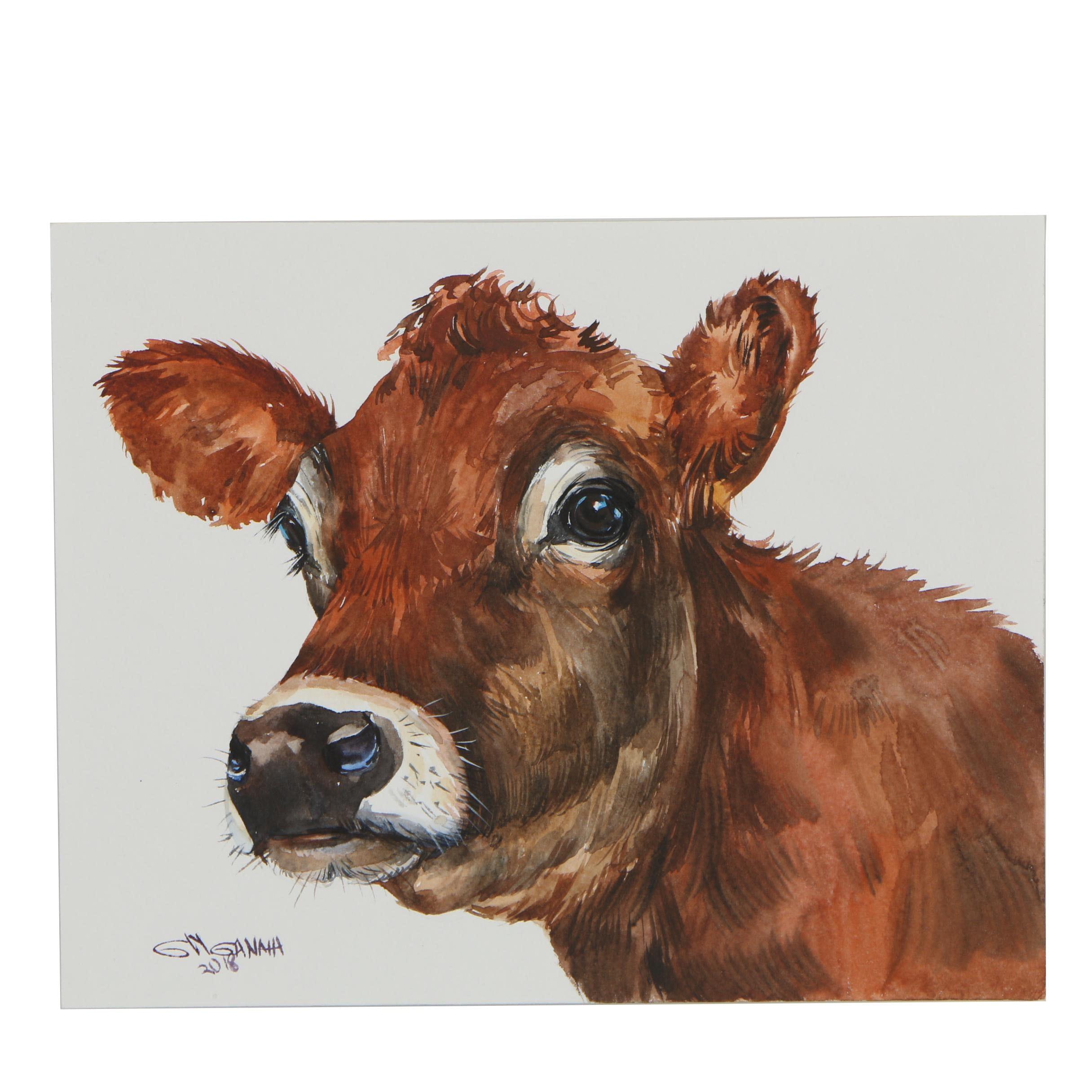 "Ganna Melnychenko 2018 Watercolor Painting ""Jersey Cow Portrait"""