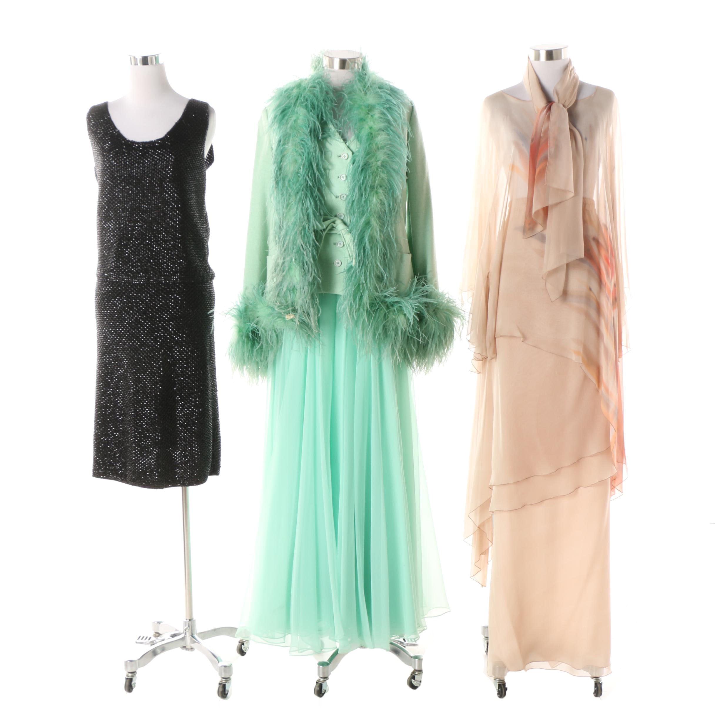 1970s Vintage Formal Wear Including Pauline Trigère and Khorshed for Sansappelle