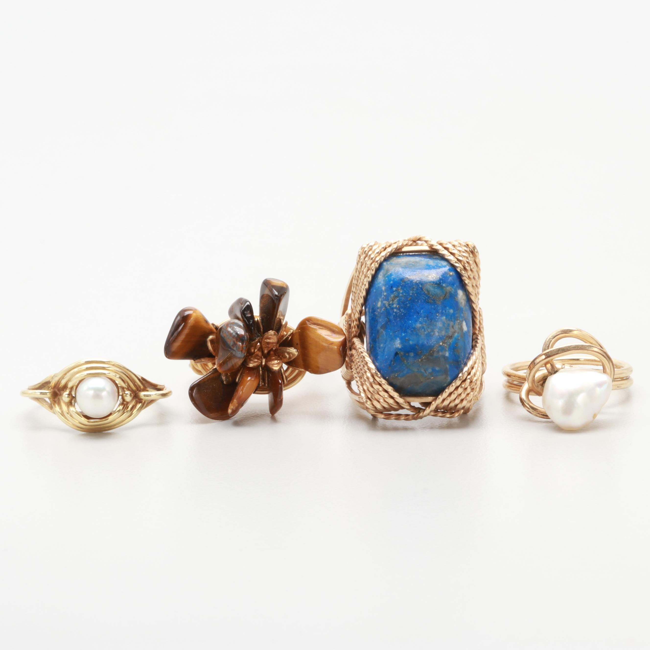 Vintage 14K Gold Wire Wrap Ring Collection Including Lapiz, Tiger's Eye, Pearl