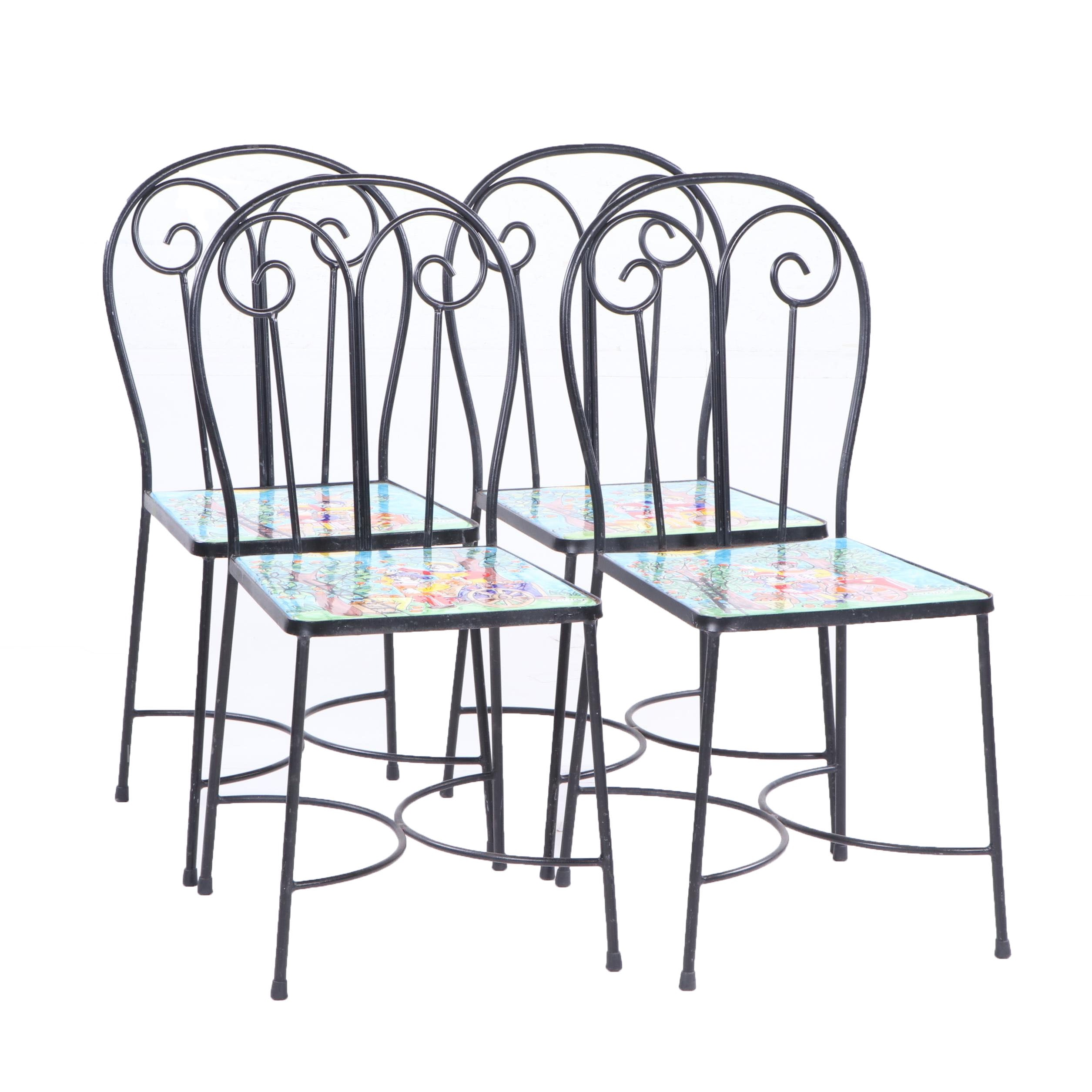Metal Frame La Musa Hand-Painted Tile Seat Side Chairs, 21st Century