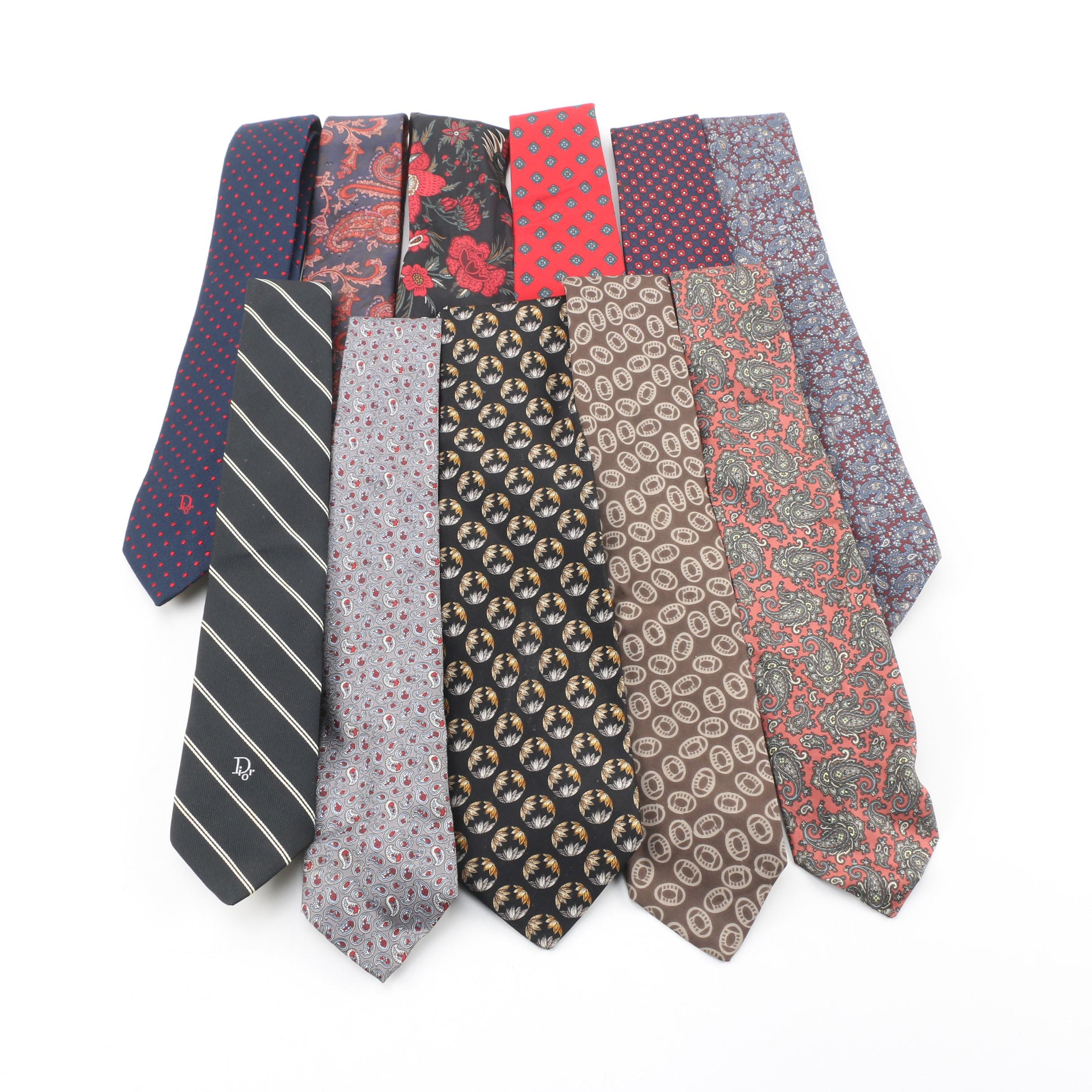 Christian Dior, Valentino, Brooks Brothers and other Designer Neckties, 1980s