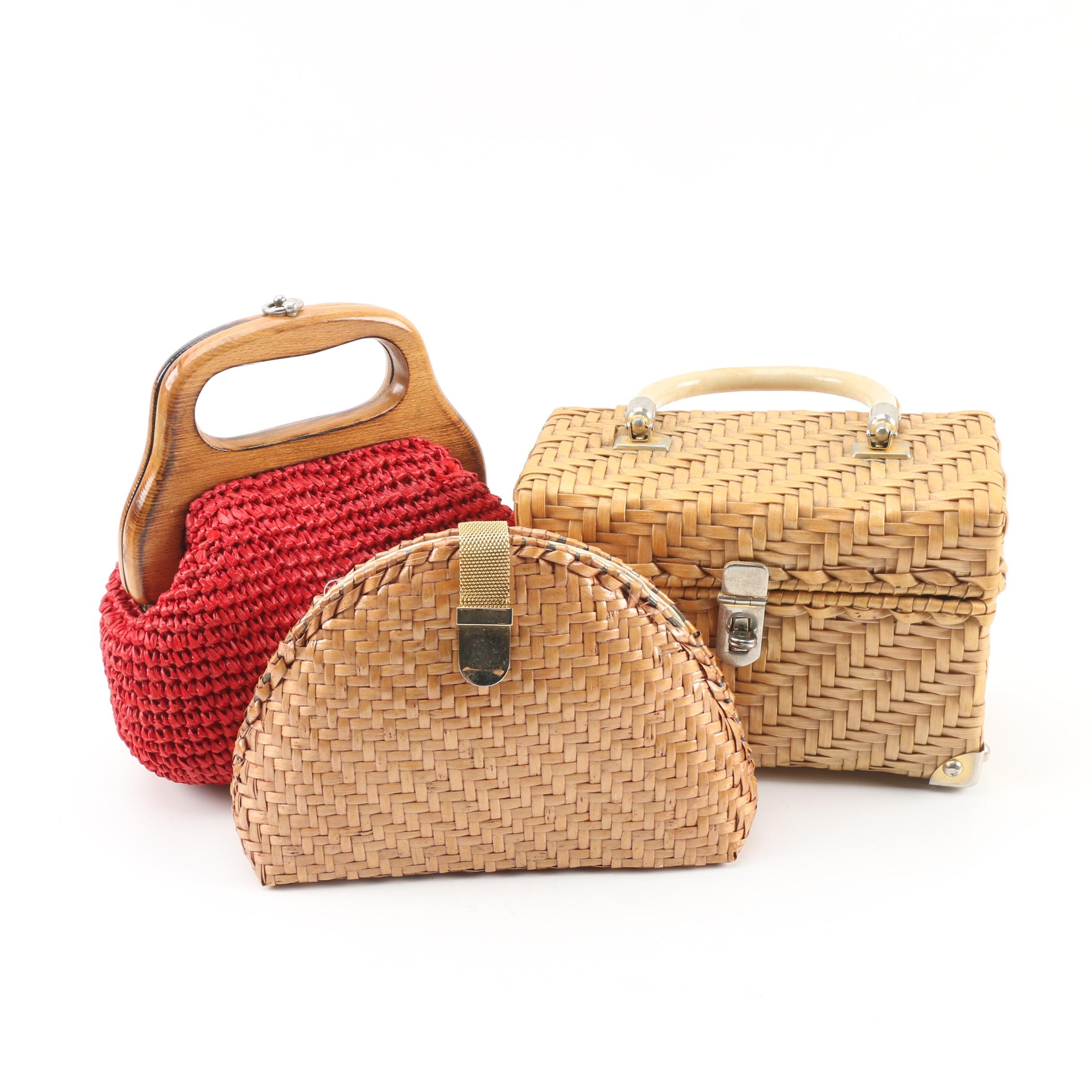 Vintage Wicker Top Handle Box Bag and Clutch with Woven Raffia Frame Bag