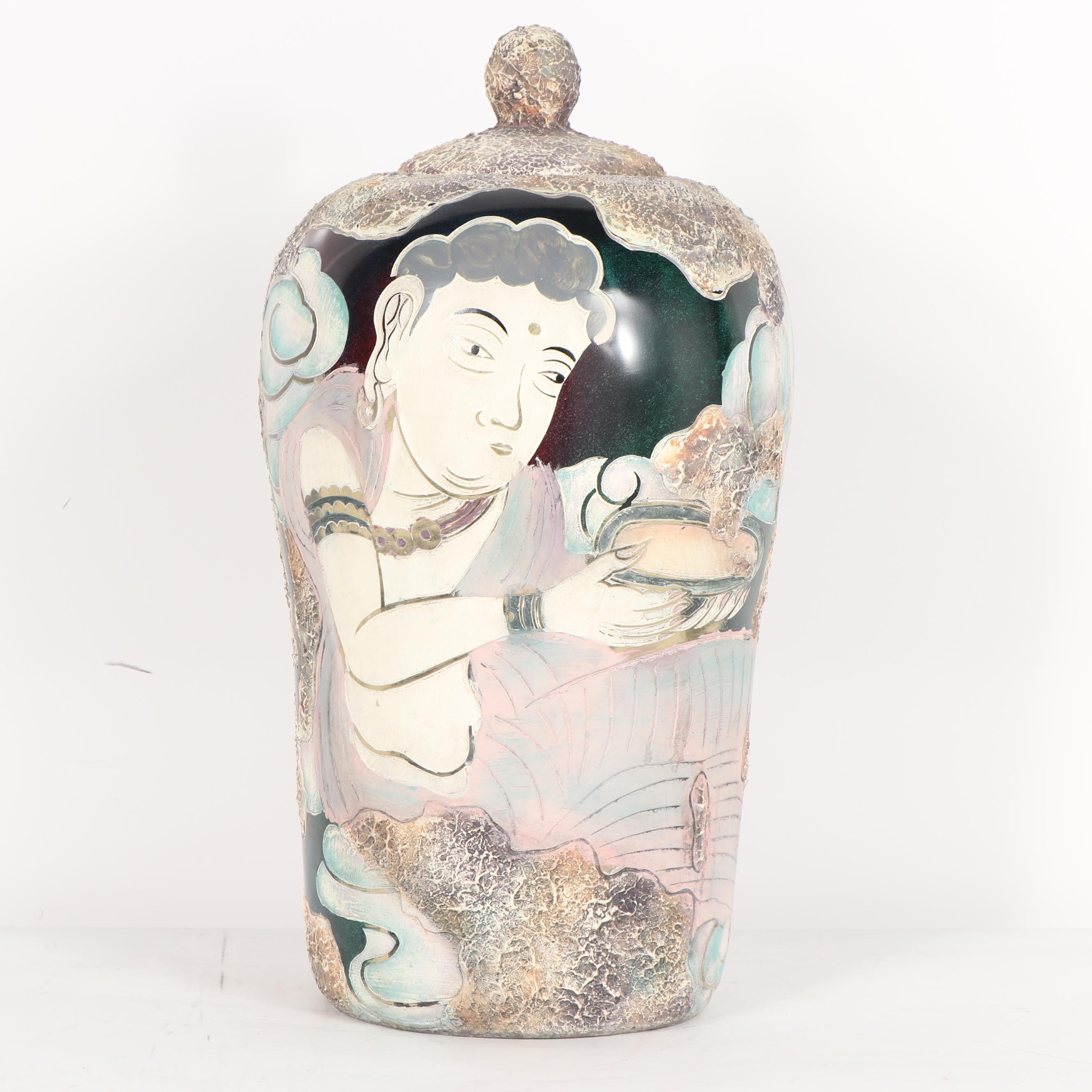 Chinese Covered Vase with Buddha Imagery