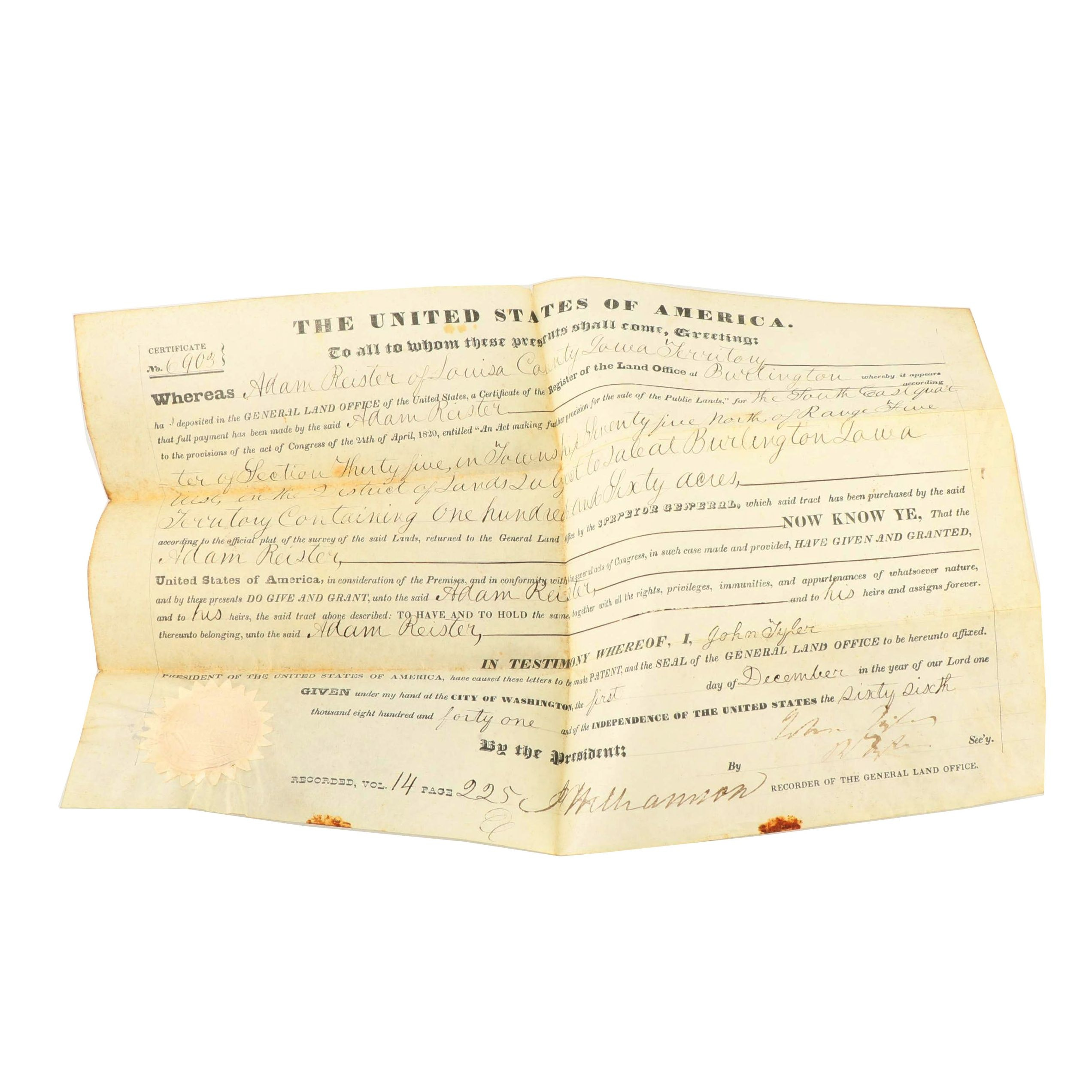 Archive of the Garner Family of Iowa, Land Grant dated 1841