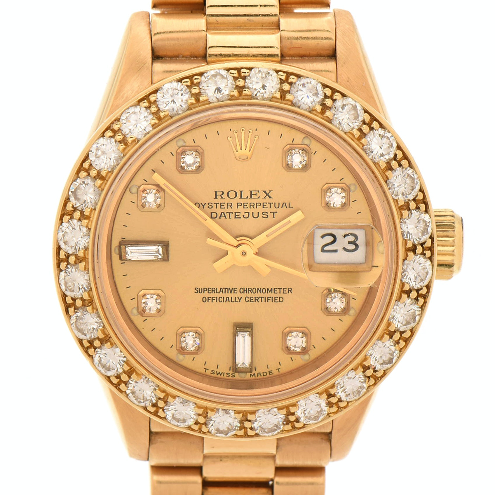 Rolex Datejust Presidential 18K Yellow Gold Diamond Wristwatch, 1989