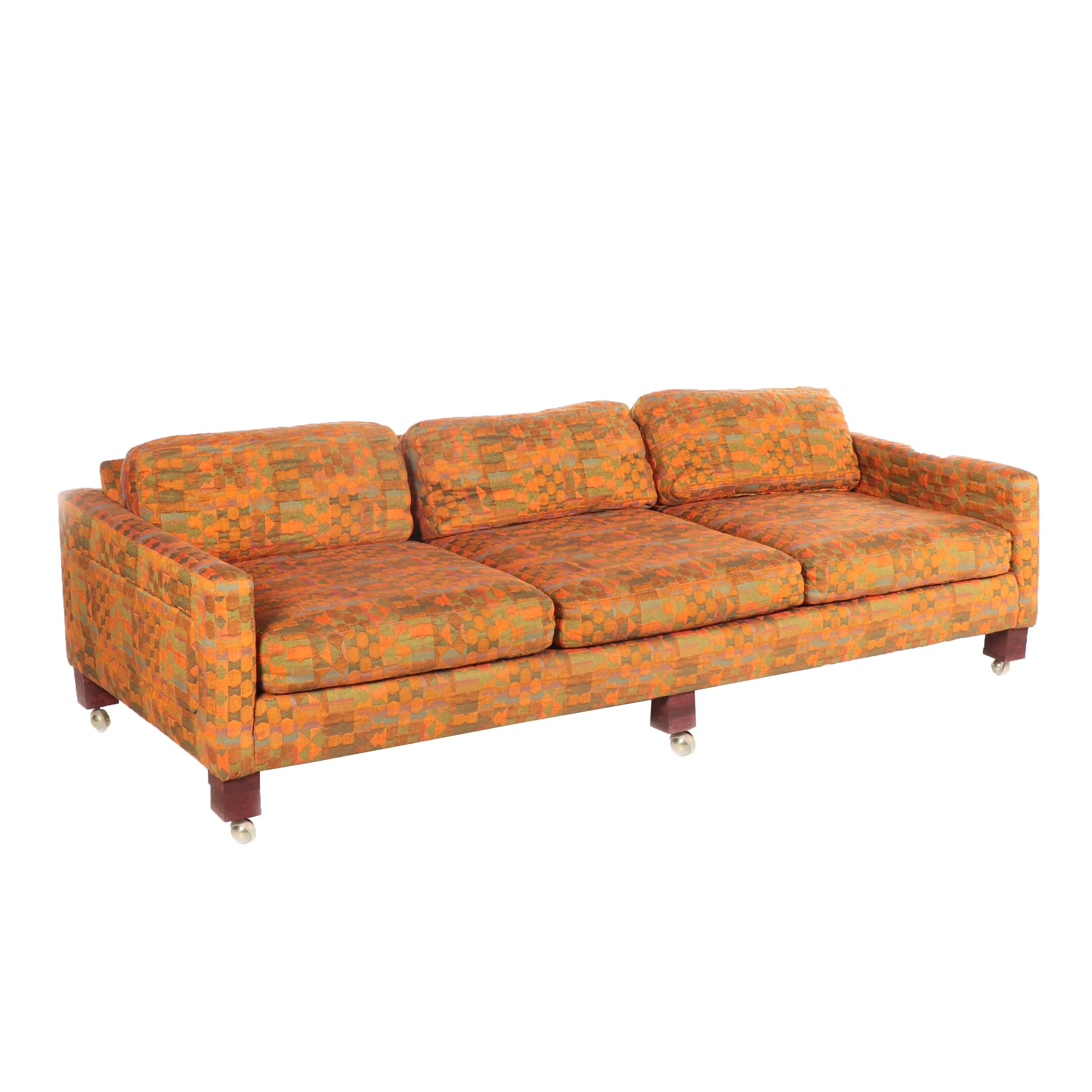 Mid Century Modern Brocade Upholstered Sofa on Casters, Mid-20th Century