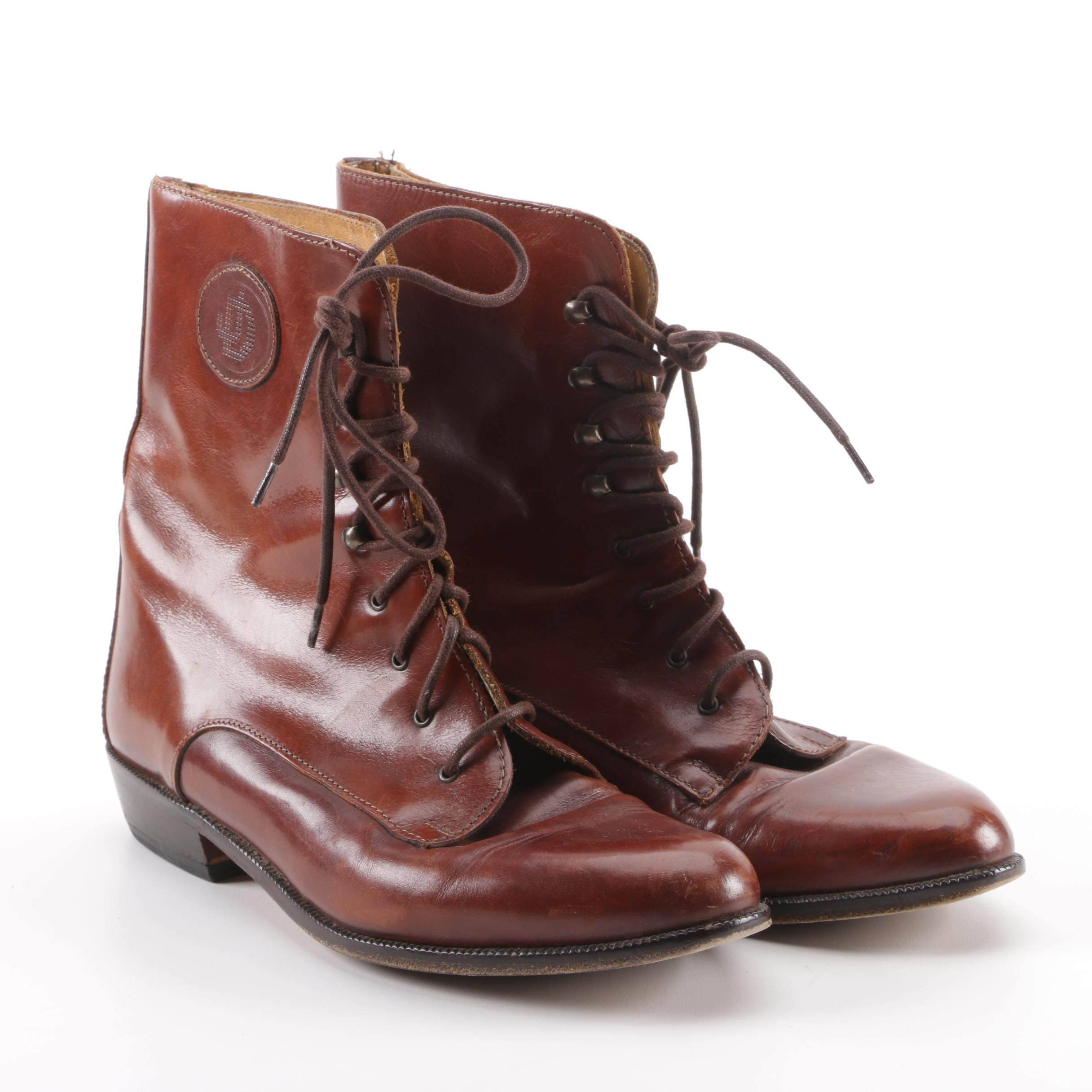 Joan & David Brown Leather Ankle Boots
