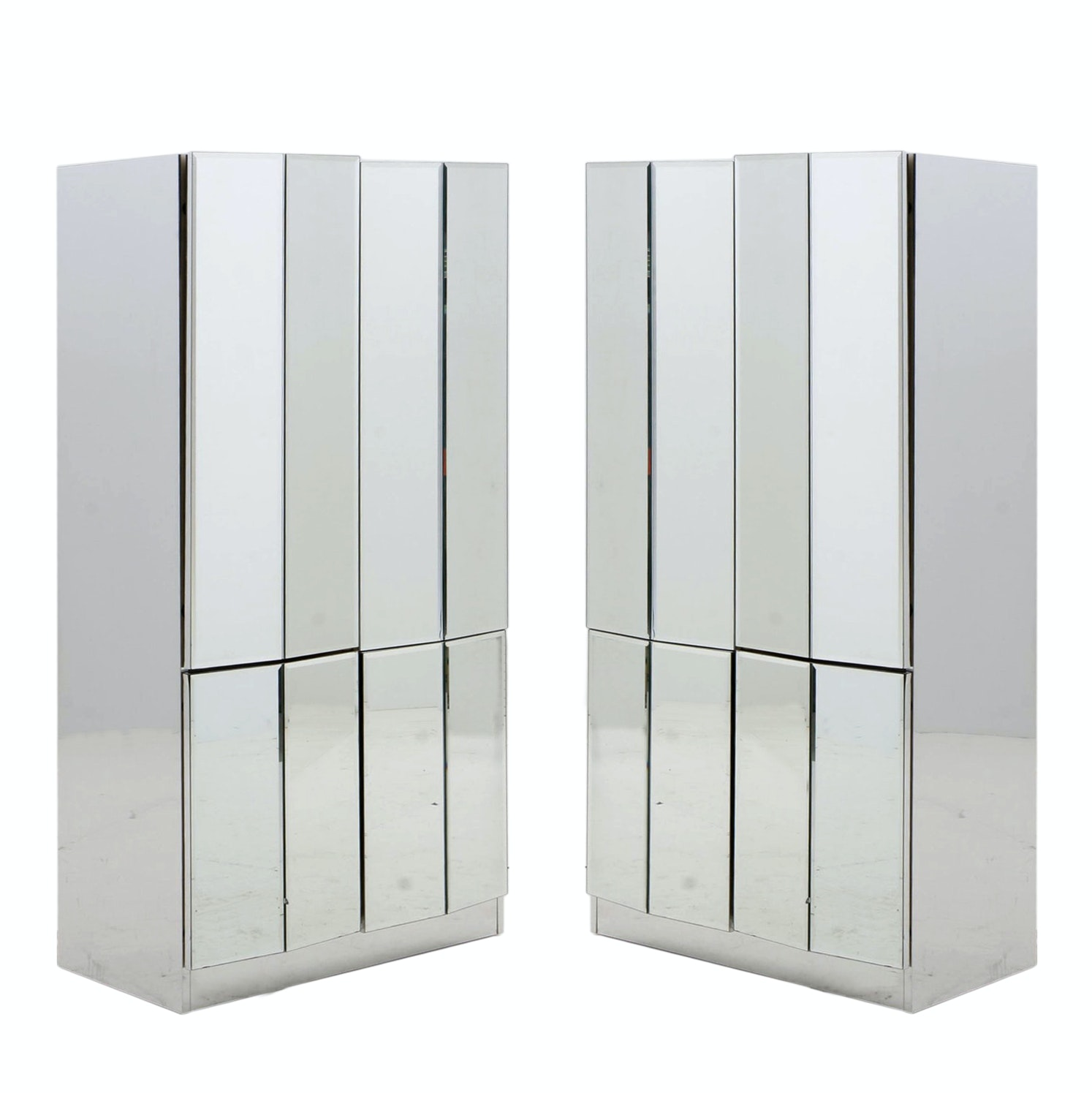 Pair of Mirrored Cabinets