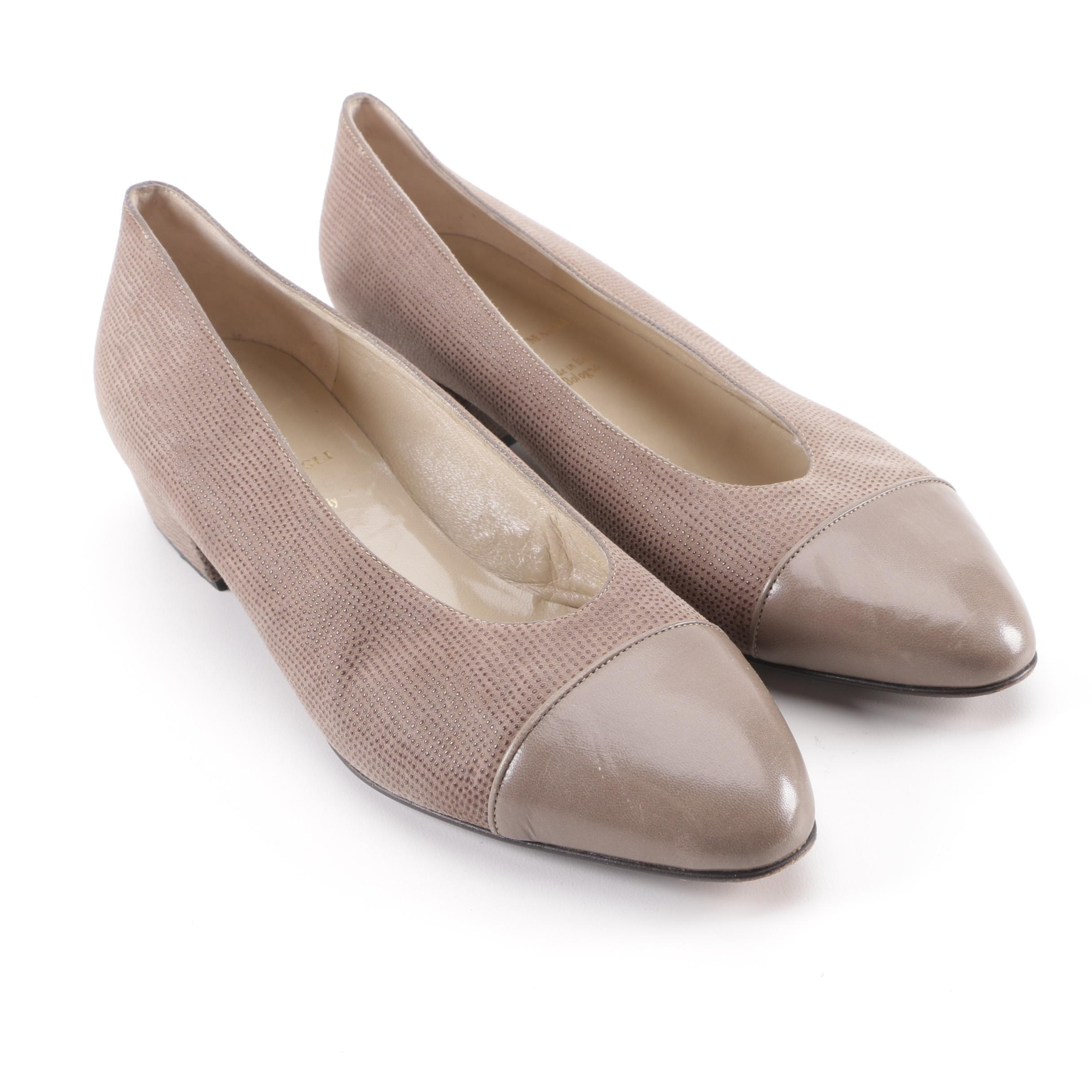 Bruno Magli Taupe Leather Flats, Made in Italy