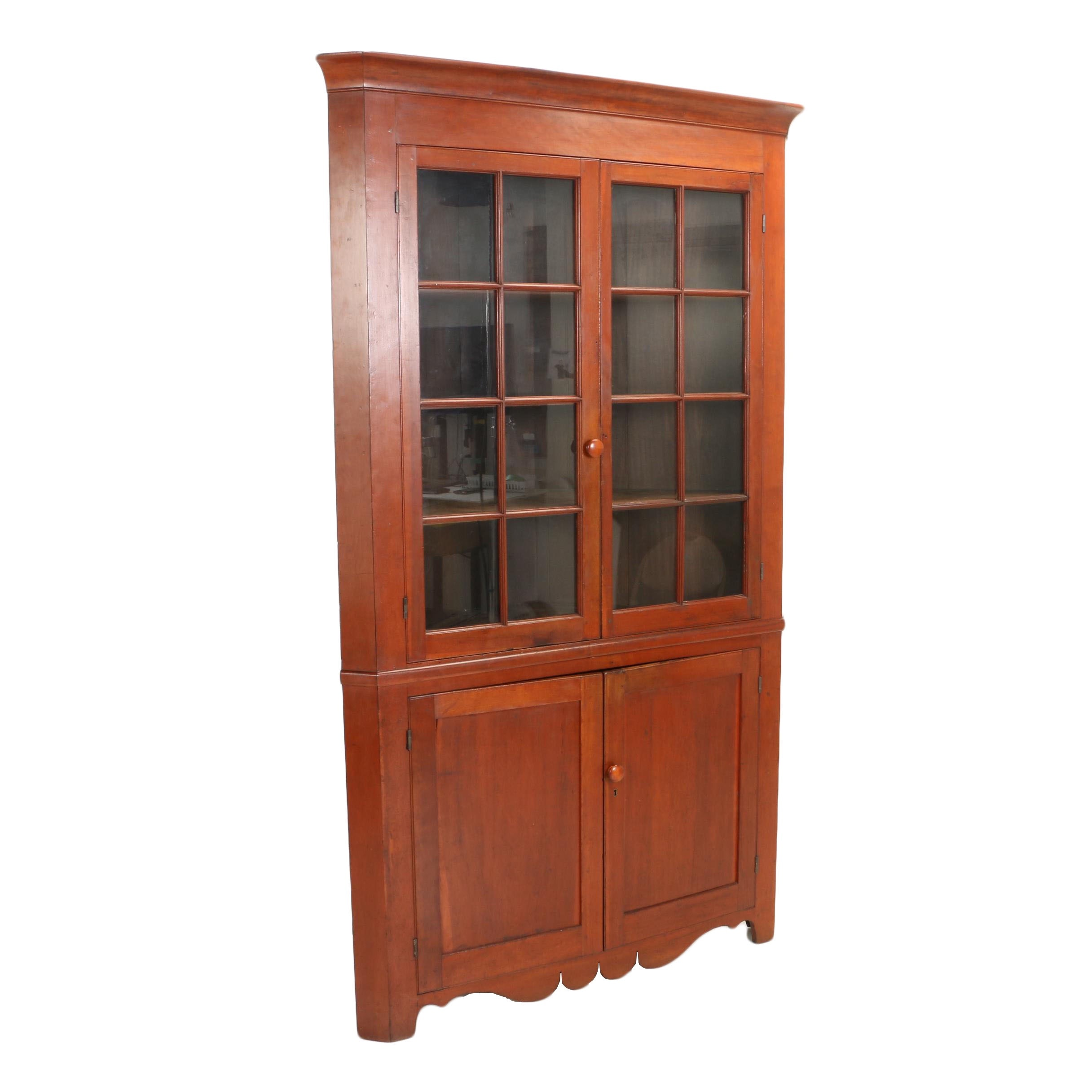 Late Federal Cherry Corner Cupboard, Possibly Ohio Valley, Circa 1840