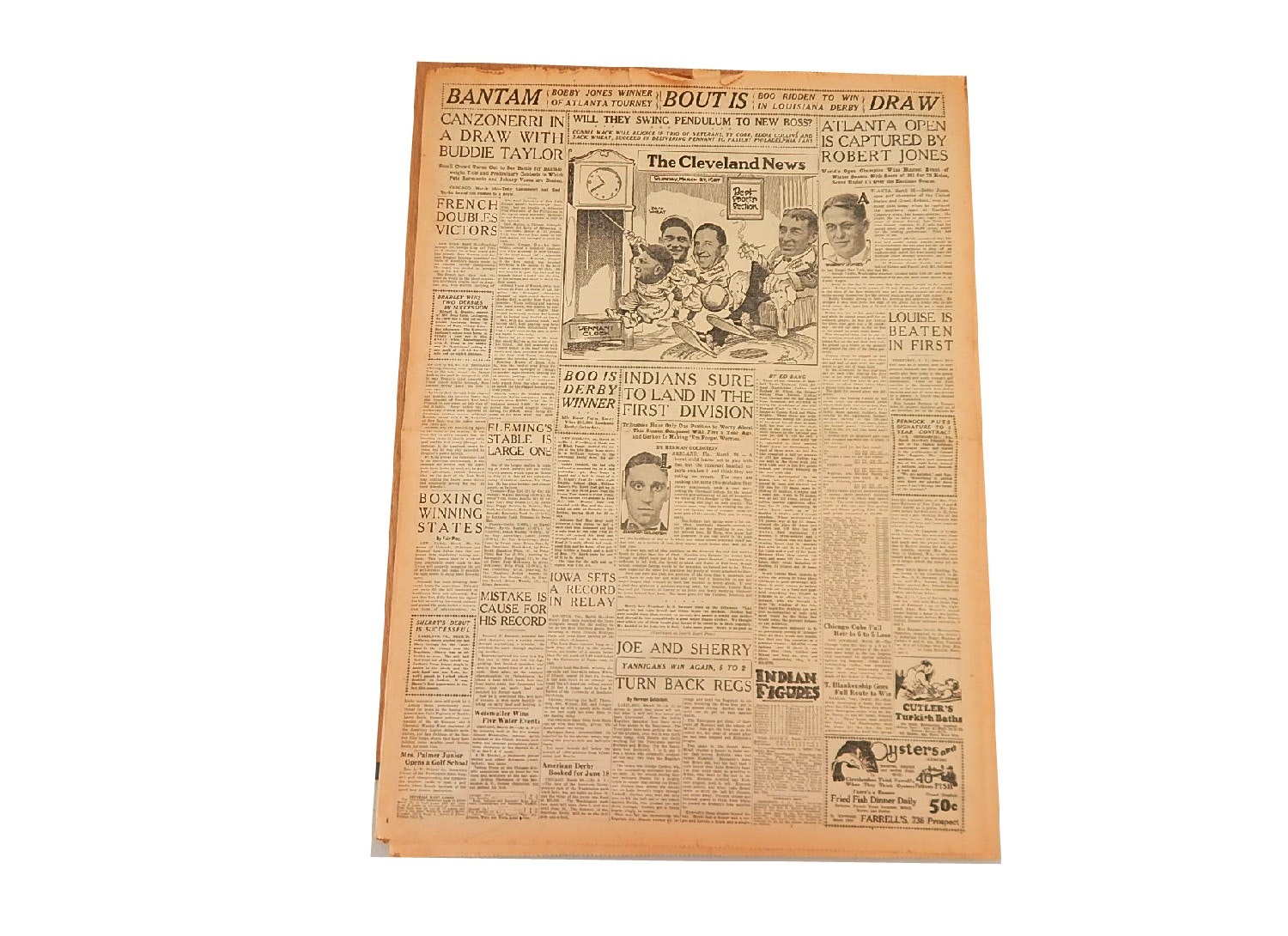 """1927 """"The Cleveland News"""" with Ty Cobb, Eddie Collins, Connie Mack,Dempsey"""