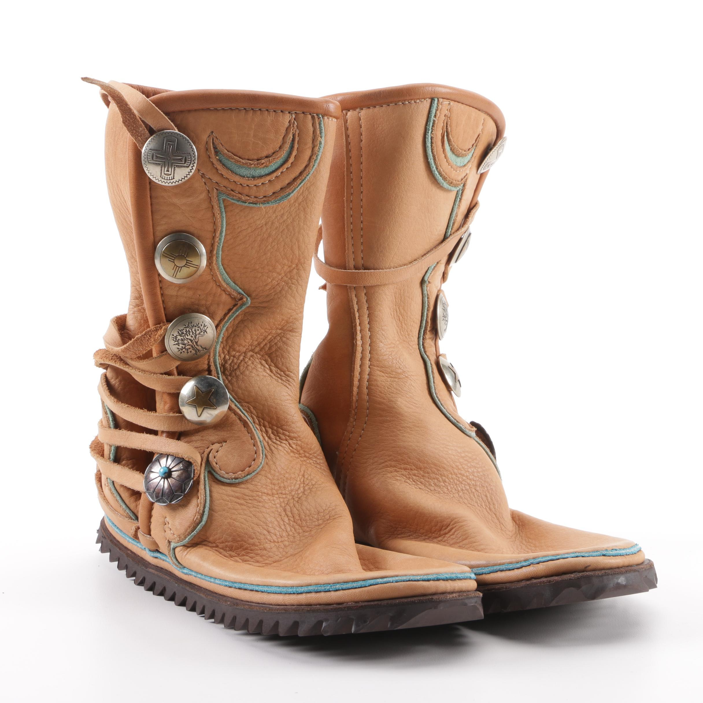 Women's Southwestern-Style Leather Concho Boots with Rubber Outsole