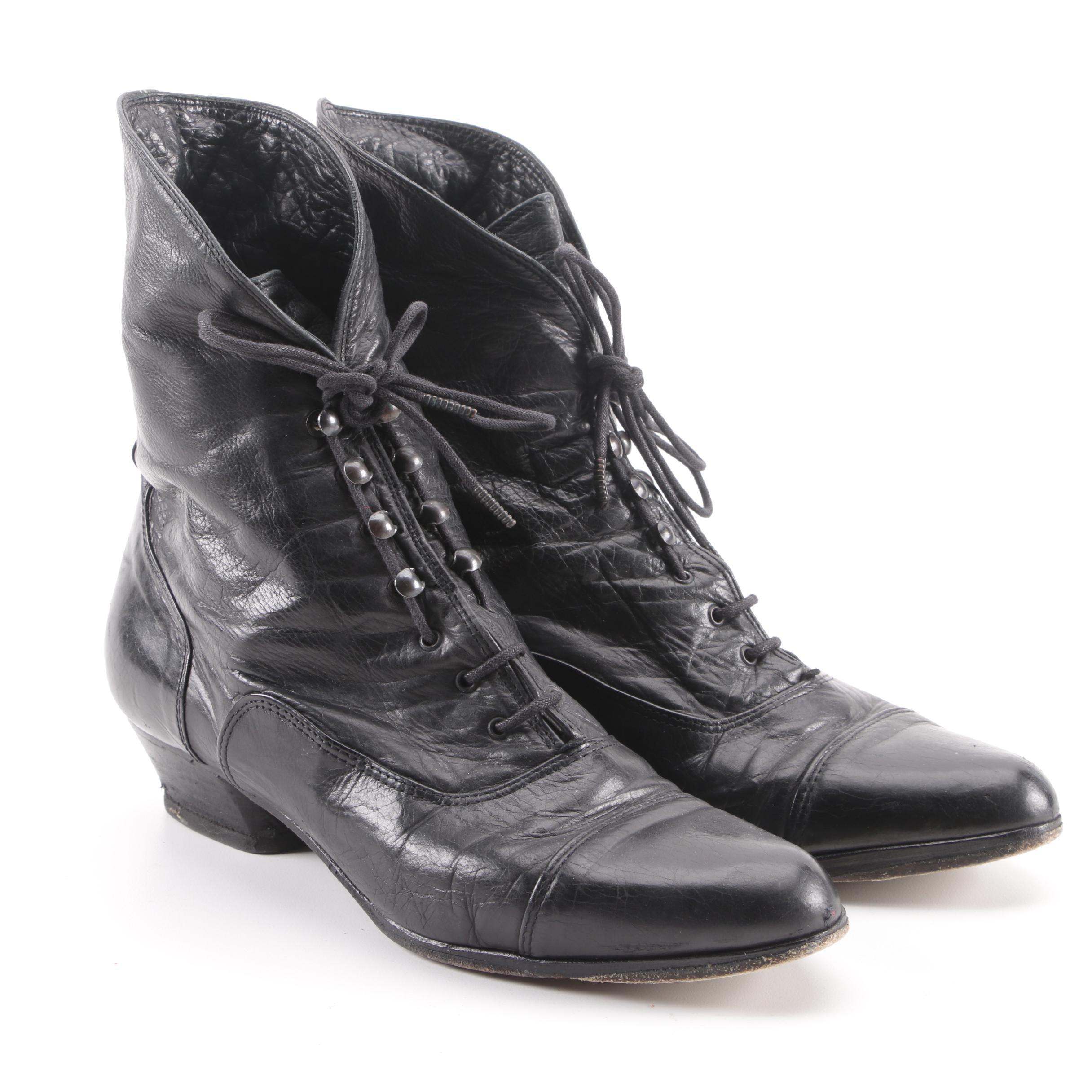 Holt Renfrew Black Leather Lace-Up Boots