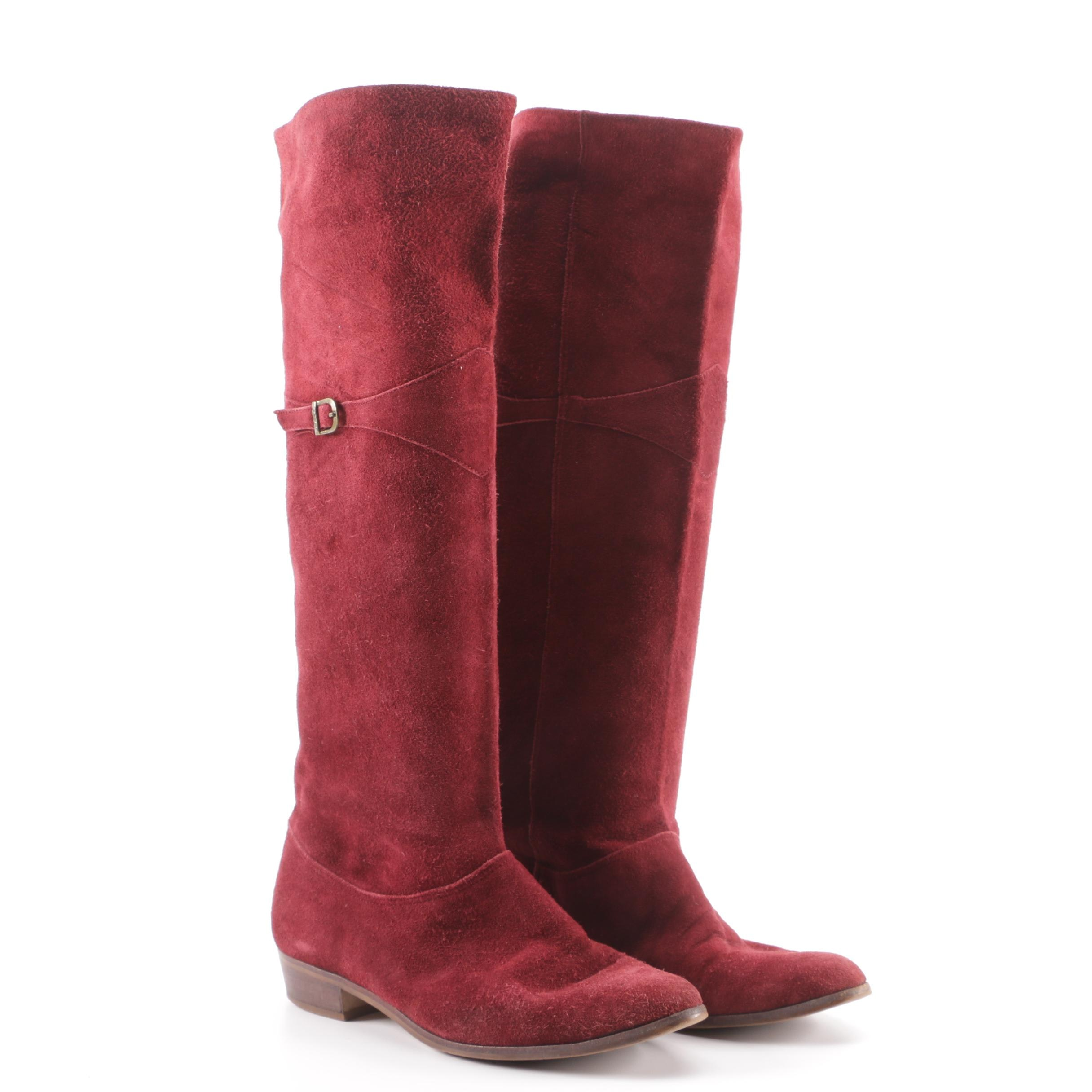 9 West Burgundy Suede Tall Boots