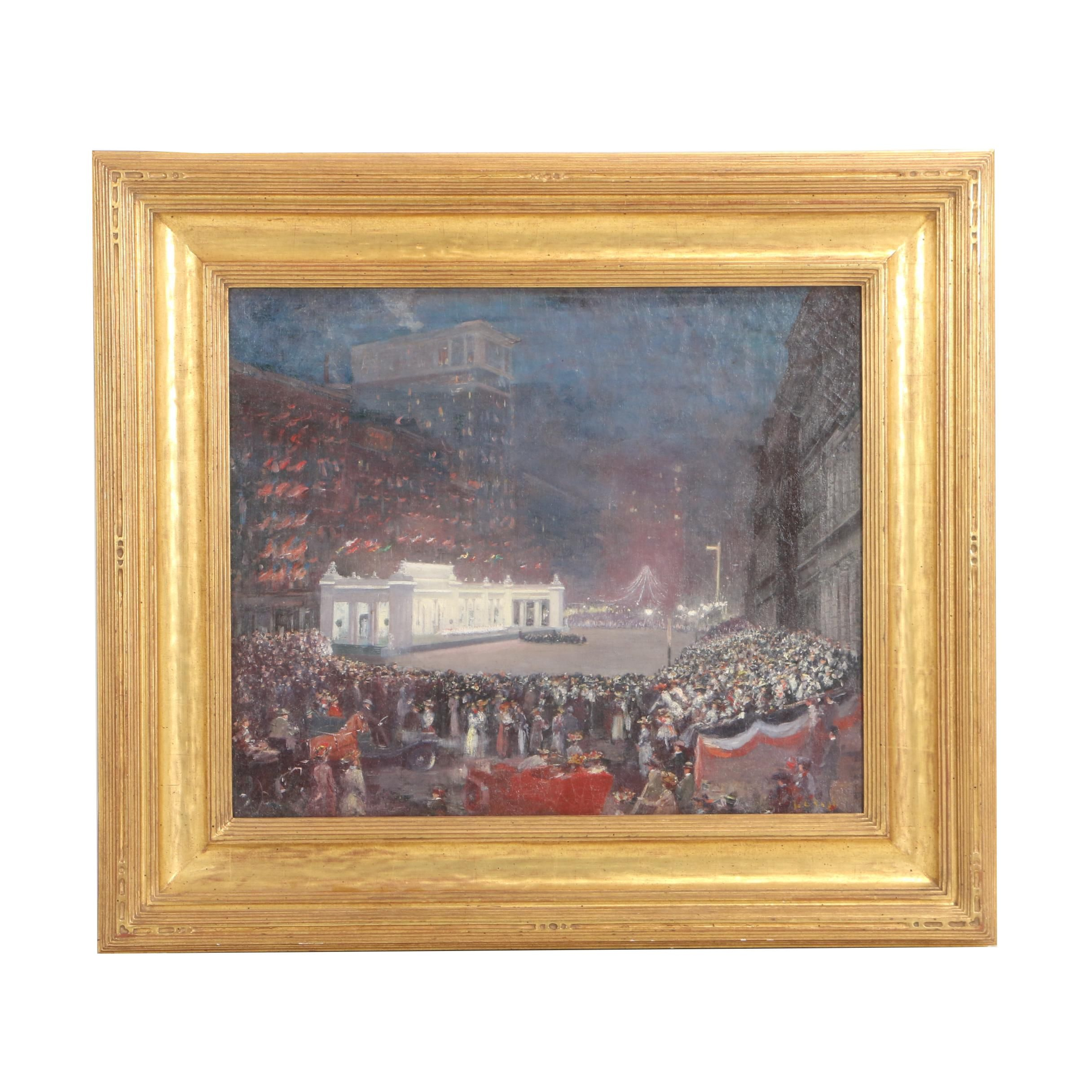 "Louis Charles Vogt 1909 Oil Painting ""National Turnfest Competition-Cincinnati"""