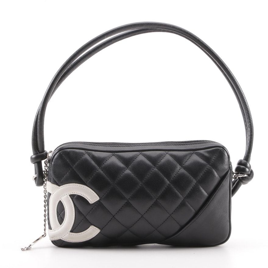 2e2065ef4ff2 Chanel Cambon Ligne Quilted Pochette Black and White Leather Shoulder Bag  ...