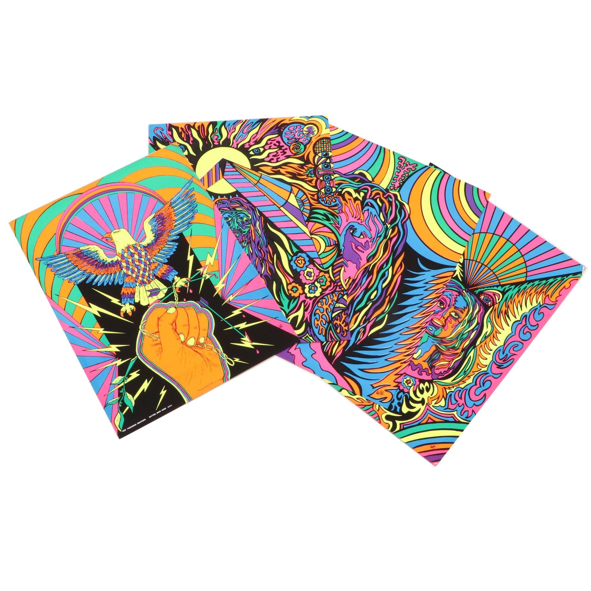 Psycehdelic 1970s Vagabond Creations Blacklight Posters