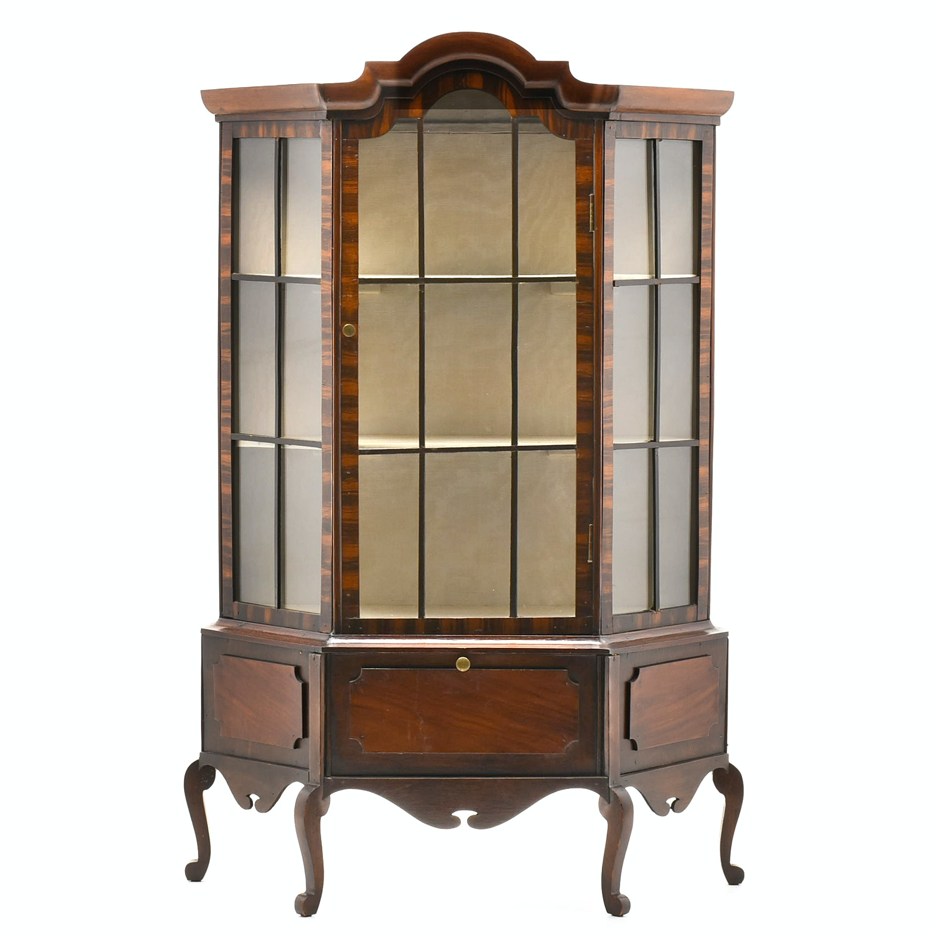 Queen Anne Style Benchmade Child's Display Cabinet, 20th Century