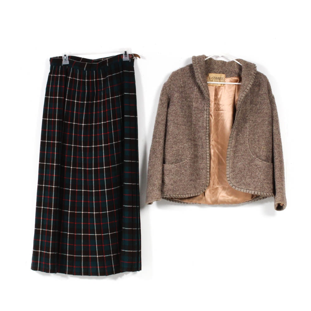 Vintage L.S. Ayres and Co. Maxi Kilt Skirt and L. Strauss and Company Jacket