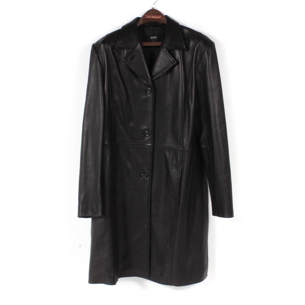 Women's Alfani Outerwear Black Leather Coat