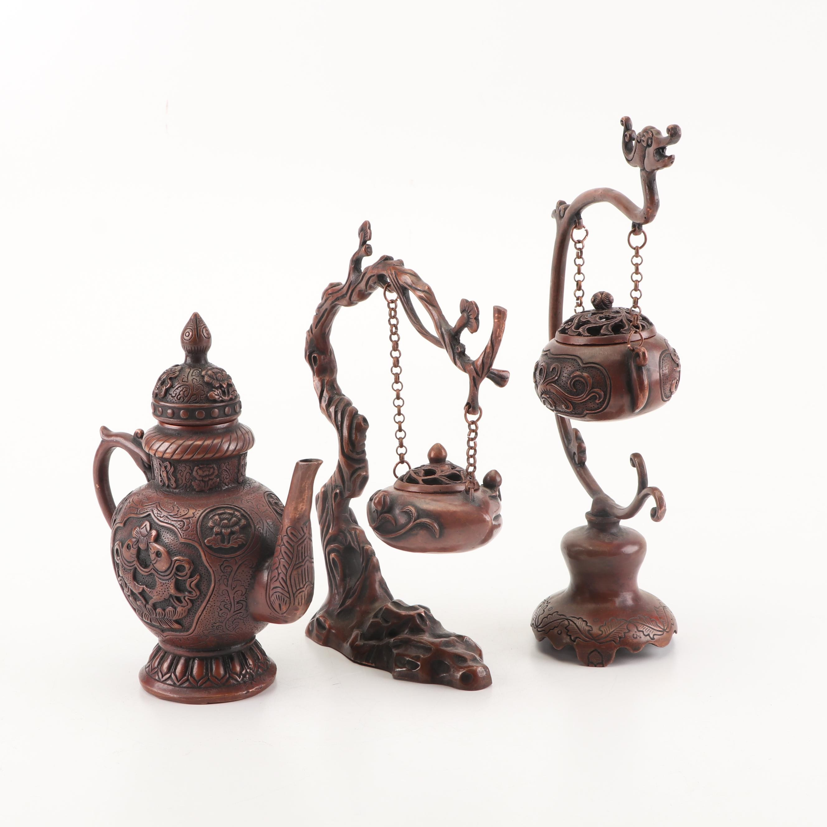 Chinese Decorative Metal Teapot and Hanging Incense Burners