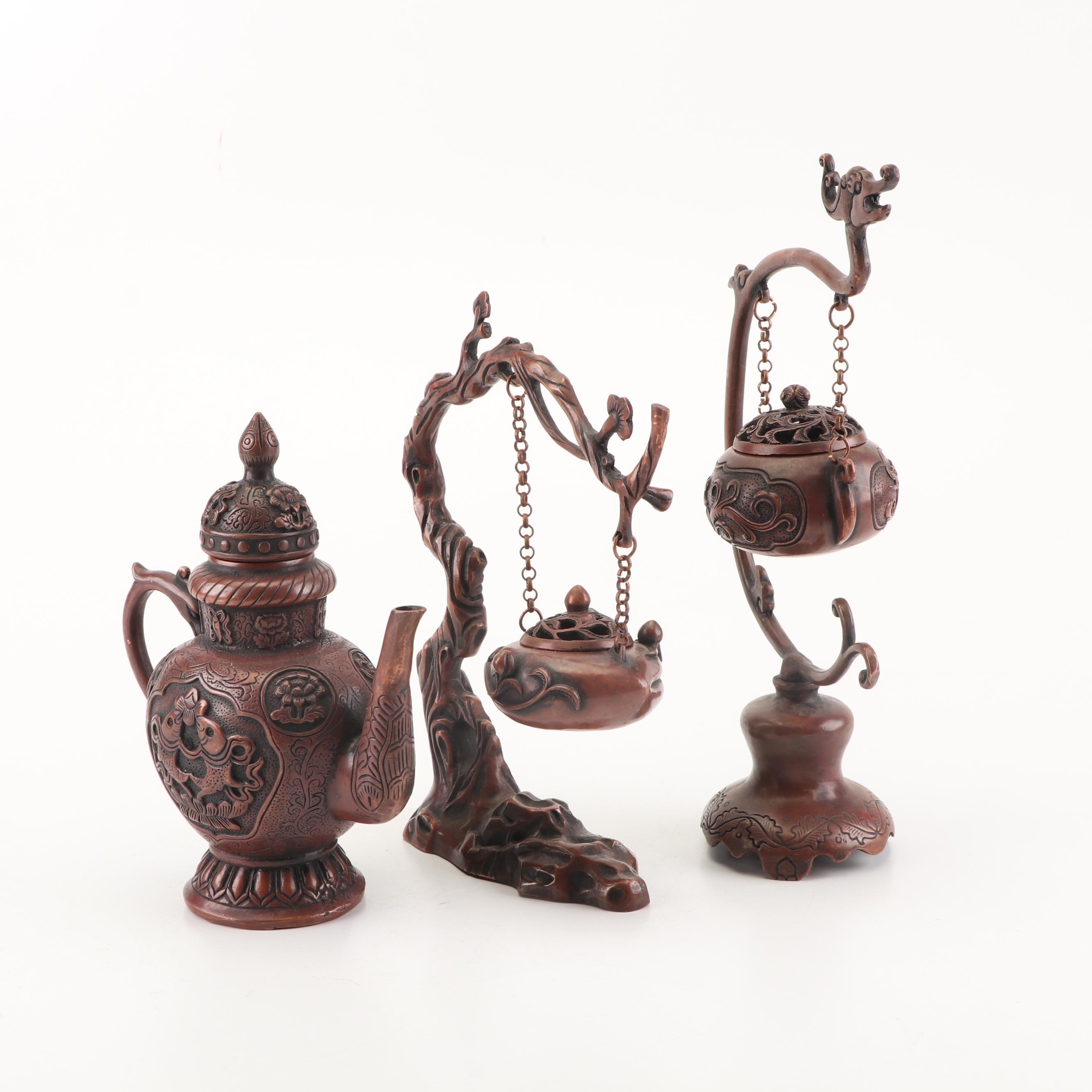 Chinese Decorative Metal Teapot and Hanging Incense Burners