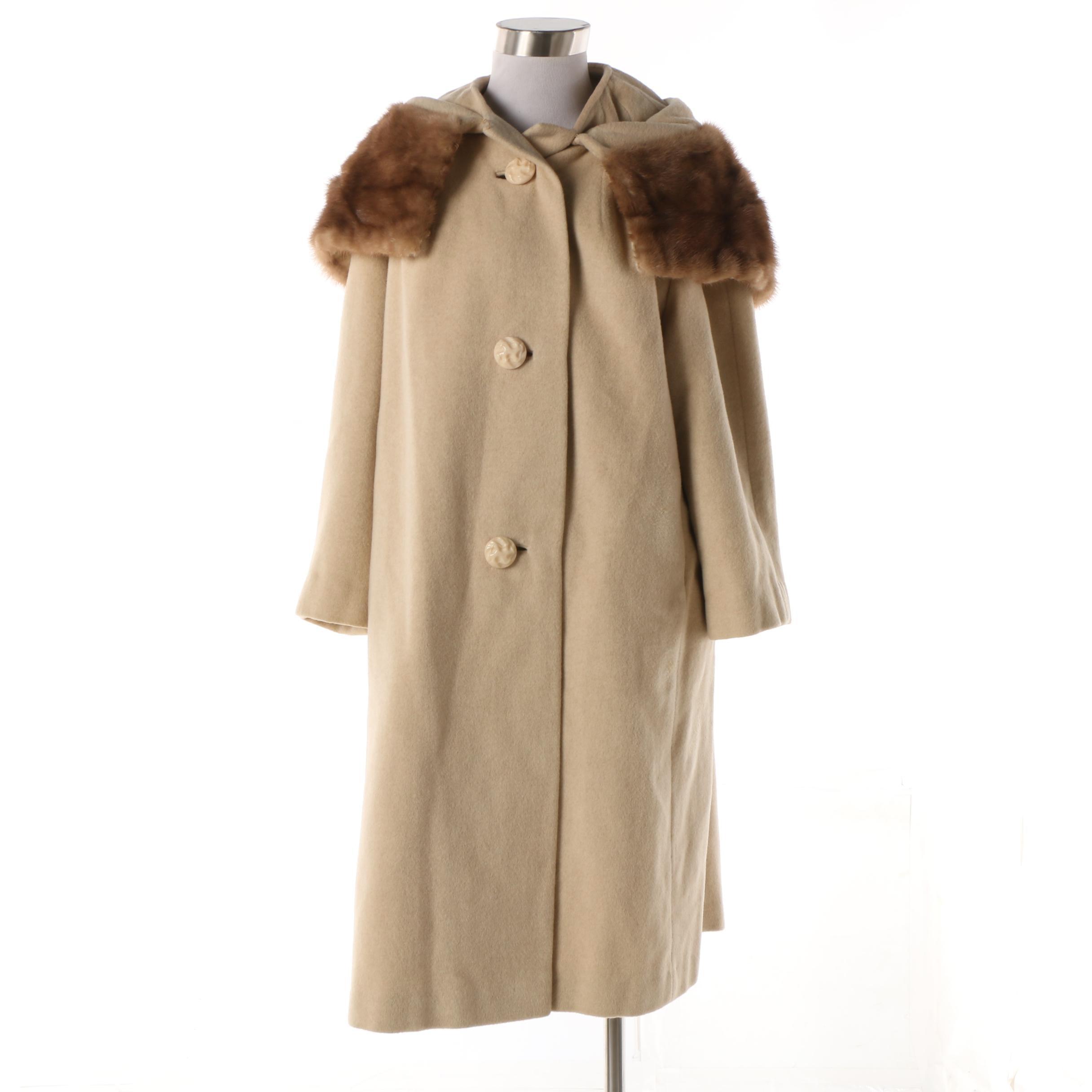 Women's Vintage Printzess Fashion Cream Wool Blend Coat with Mink Fur Collar