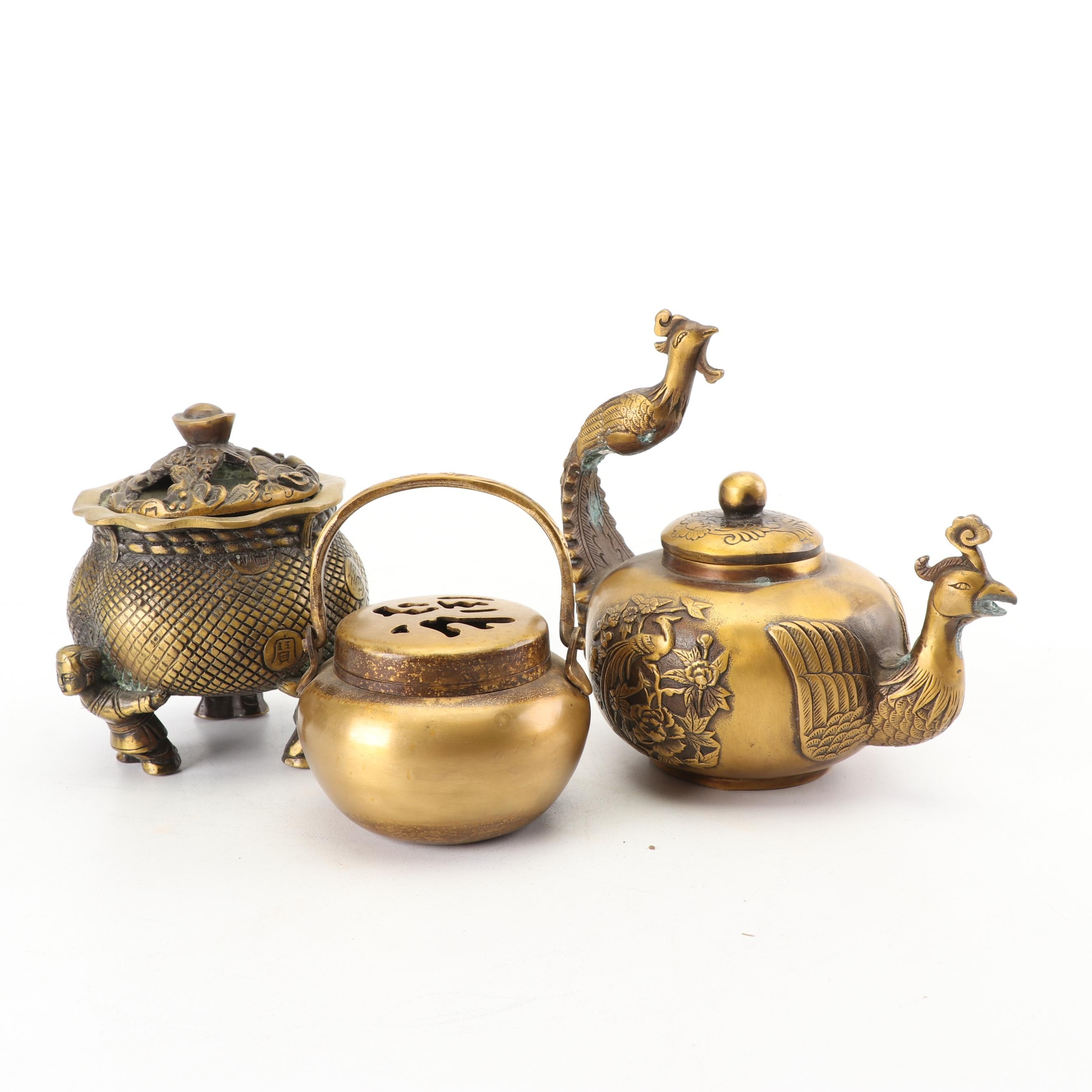 Chinese Metal Censers and Teapot