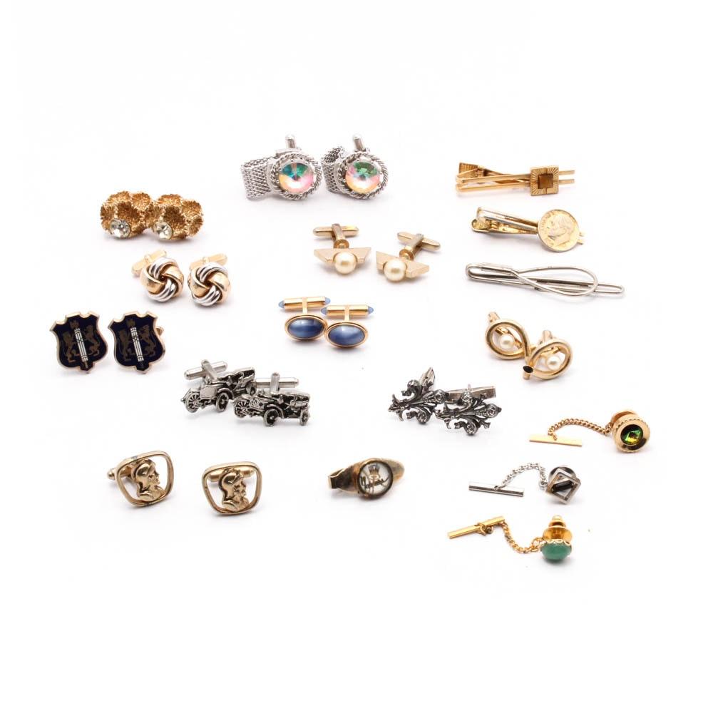 Vintage Cufflinks, Tie Bars, and Tie Tacks Including Sterling Silver, Krementz