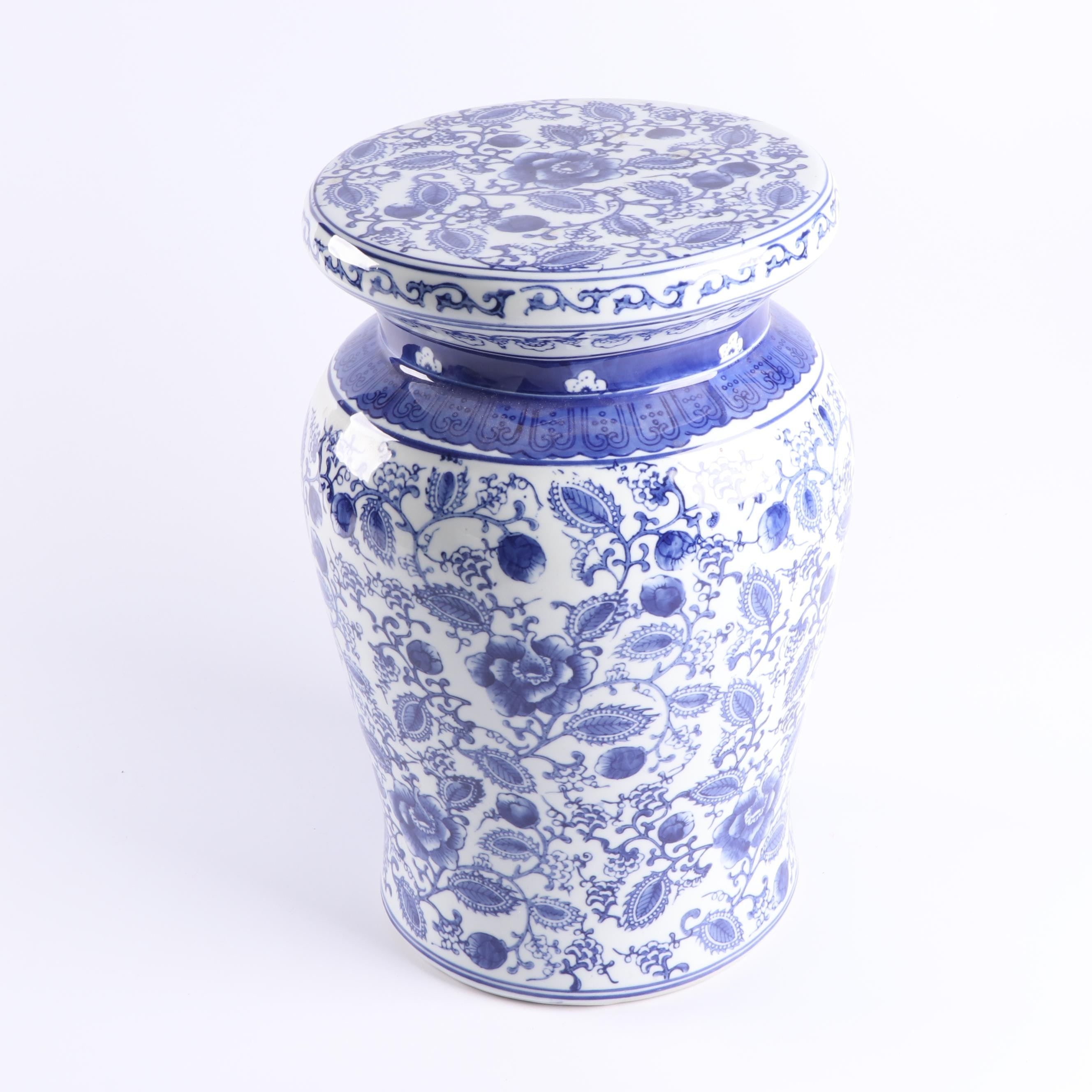 Chinese Blue and White Porcelain Pedestal