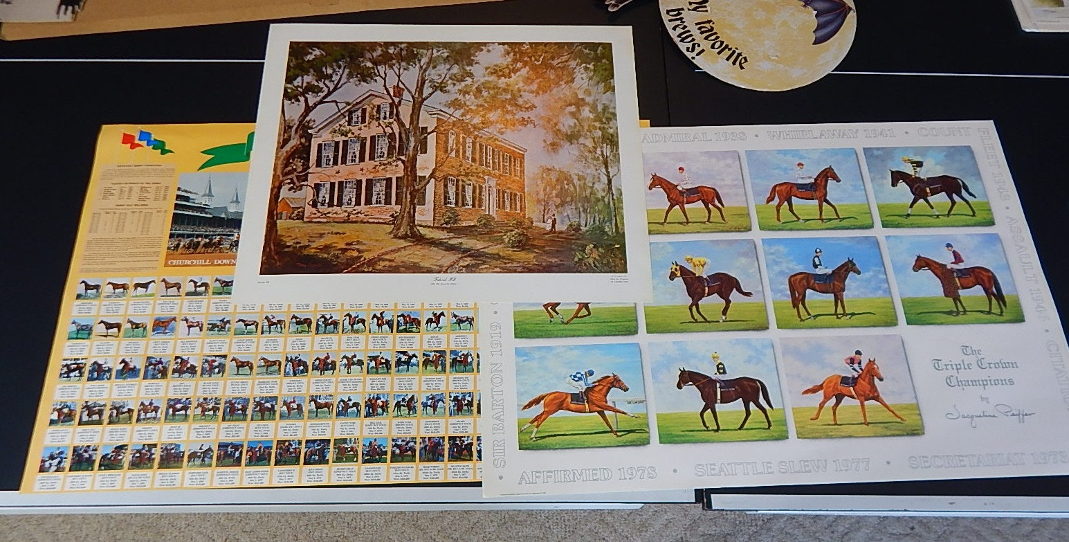 Three Unsigned Equestrian Themed Lithographic Prints and Posters