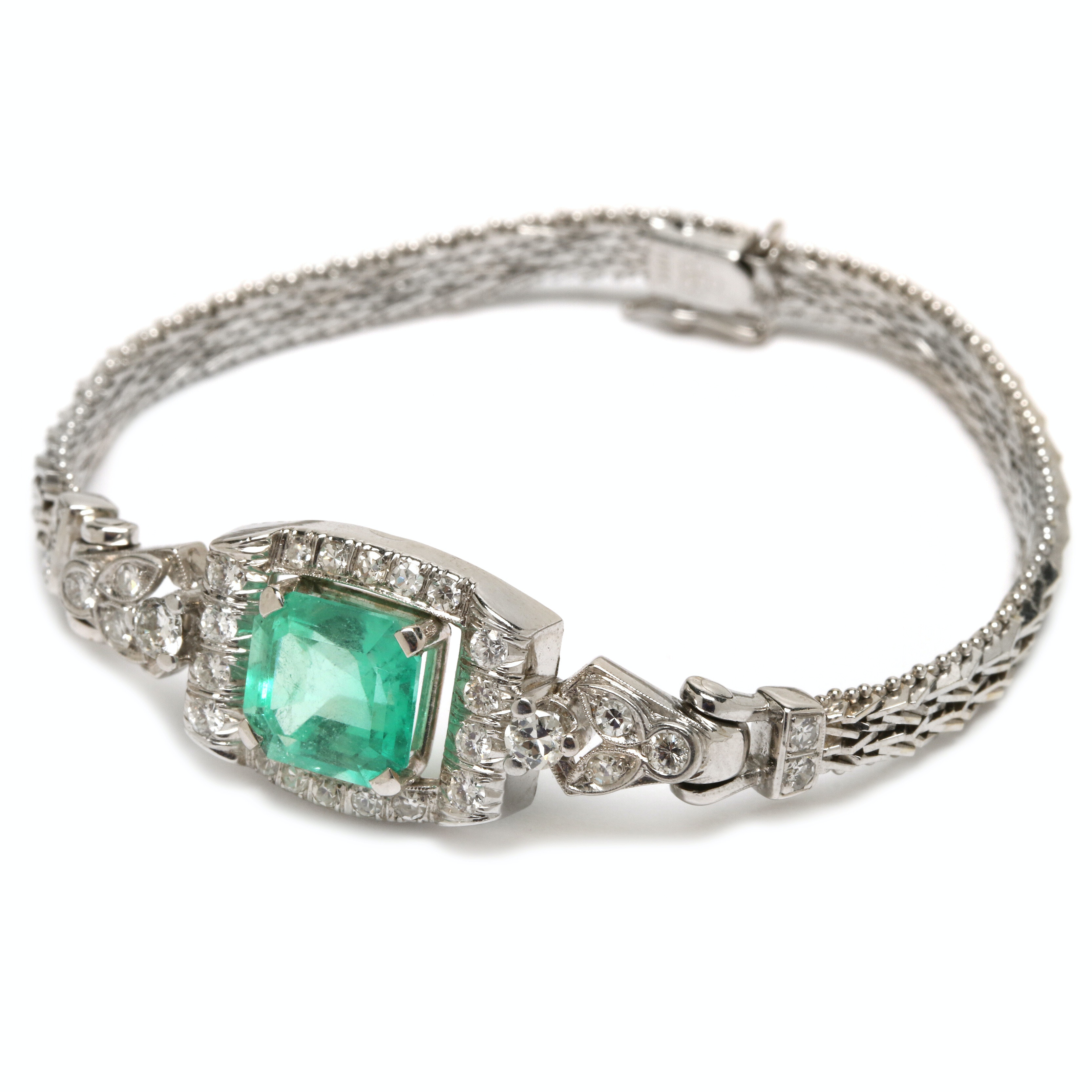 14K White Gold 3.53 CT Emerald and Diamond Converted Watch Band Bracelet