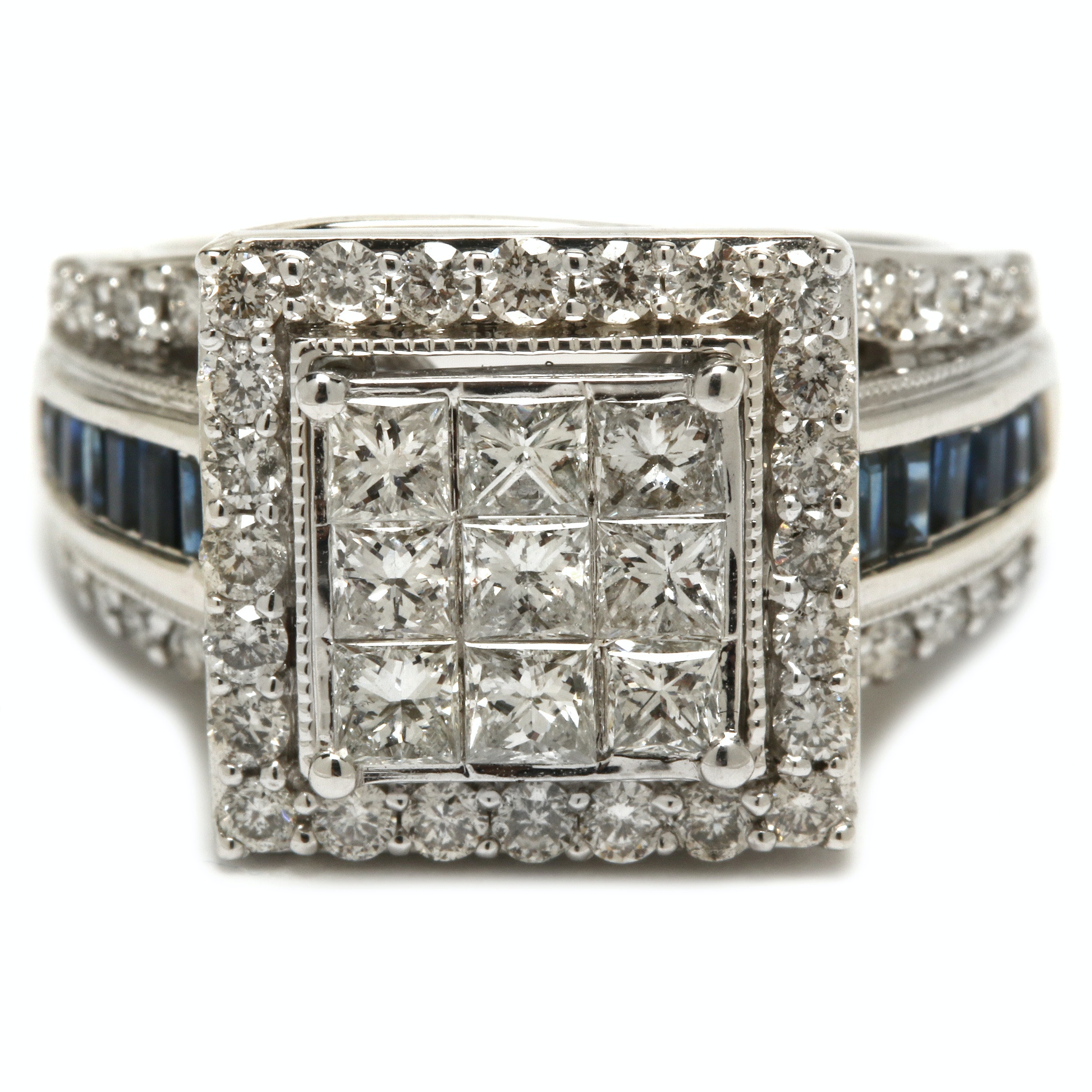 14K White Gold 1.74 CTW Diamond and Sapphire Ring