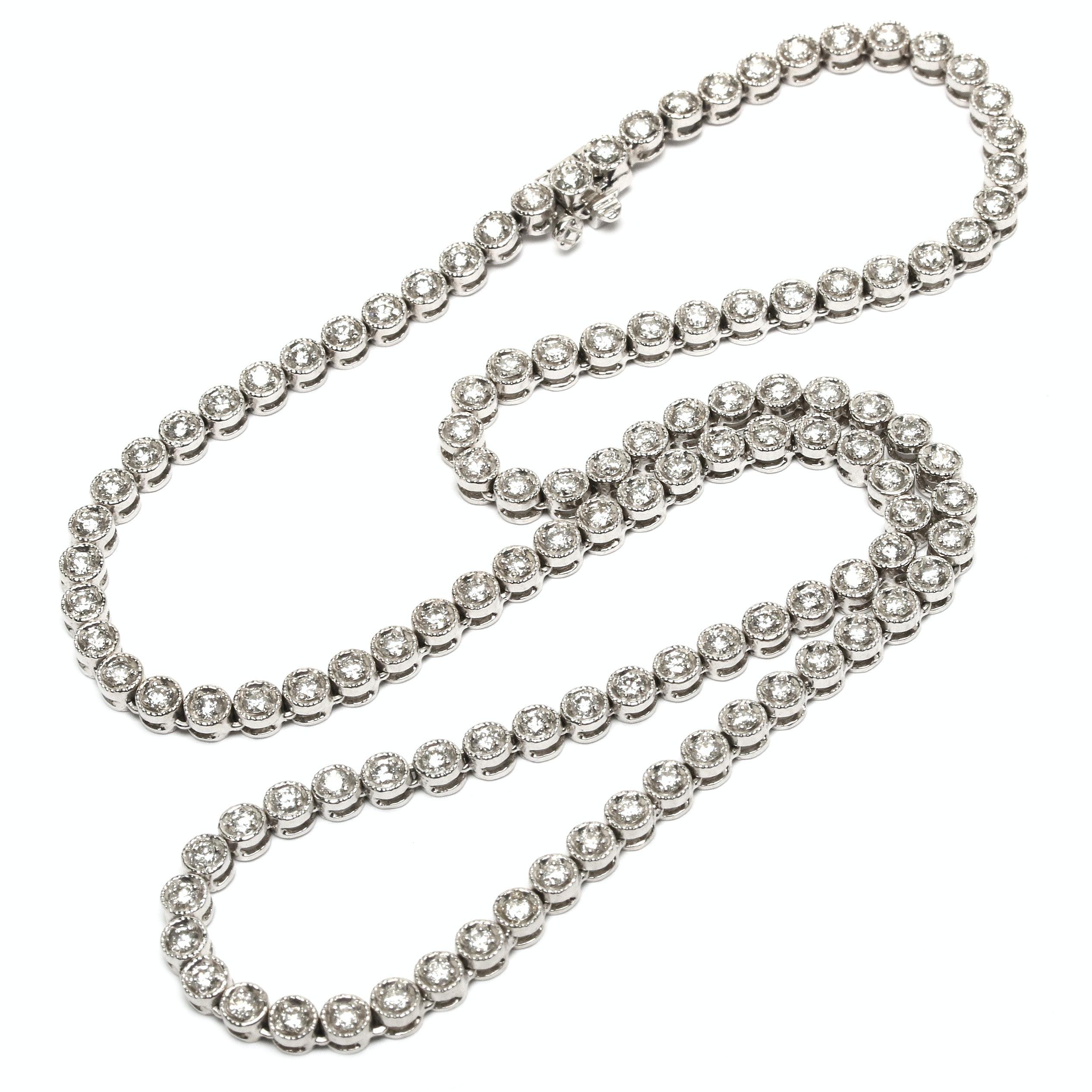 14K White Gold 3.73 CTW Diamond Rivière Necklace
