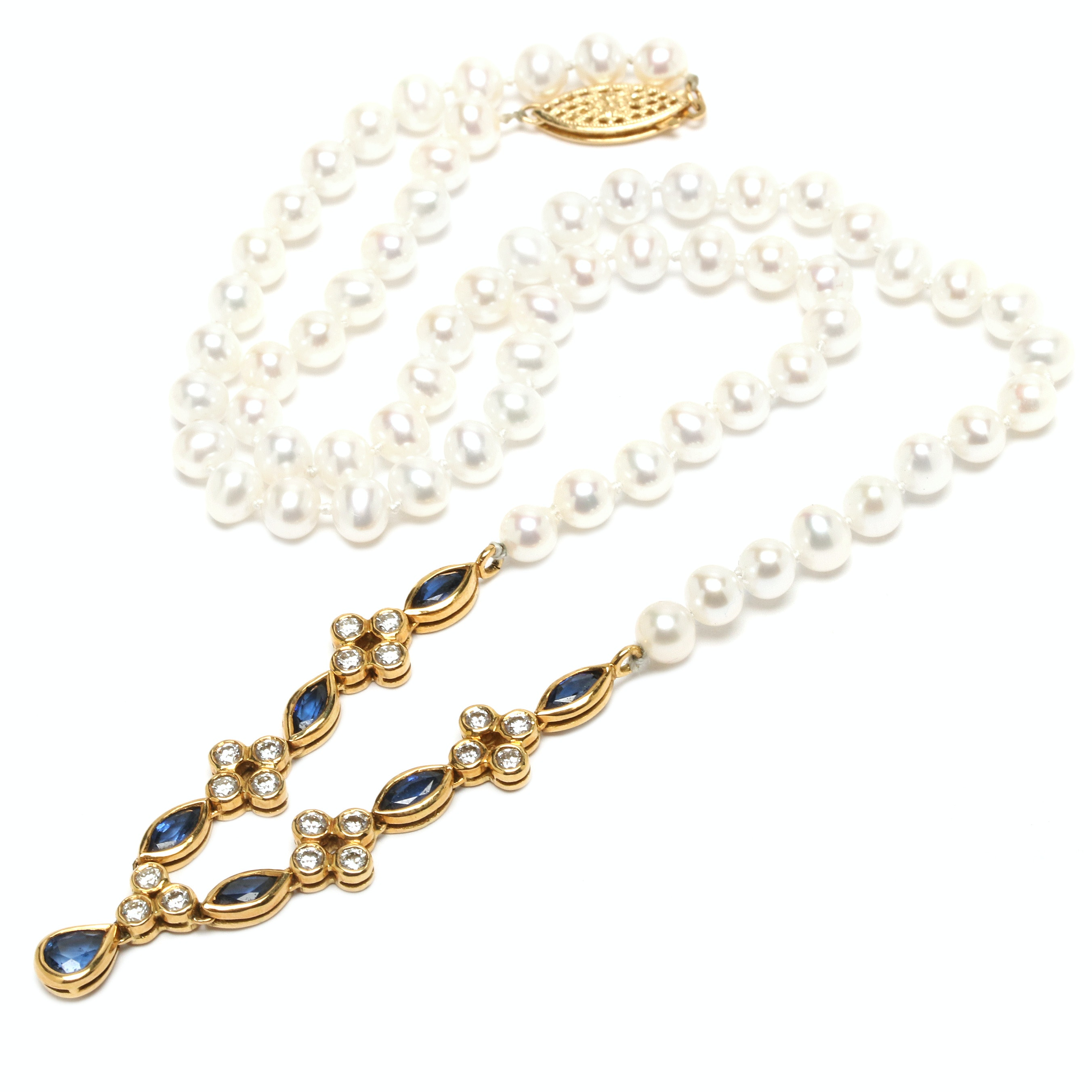 18K Yellow Gold Sapphire, Diamond and Cultured Pearl Necklace with Leather Pouch