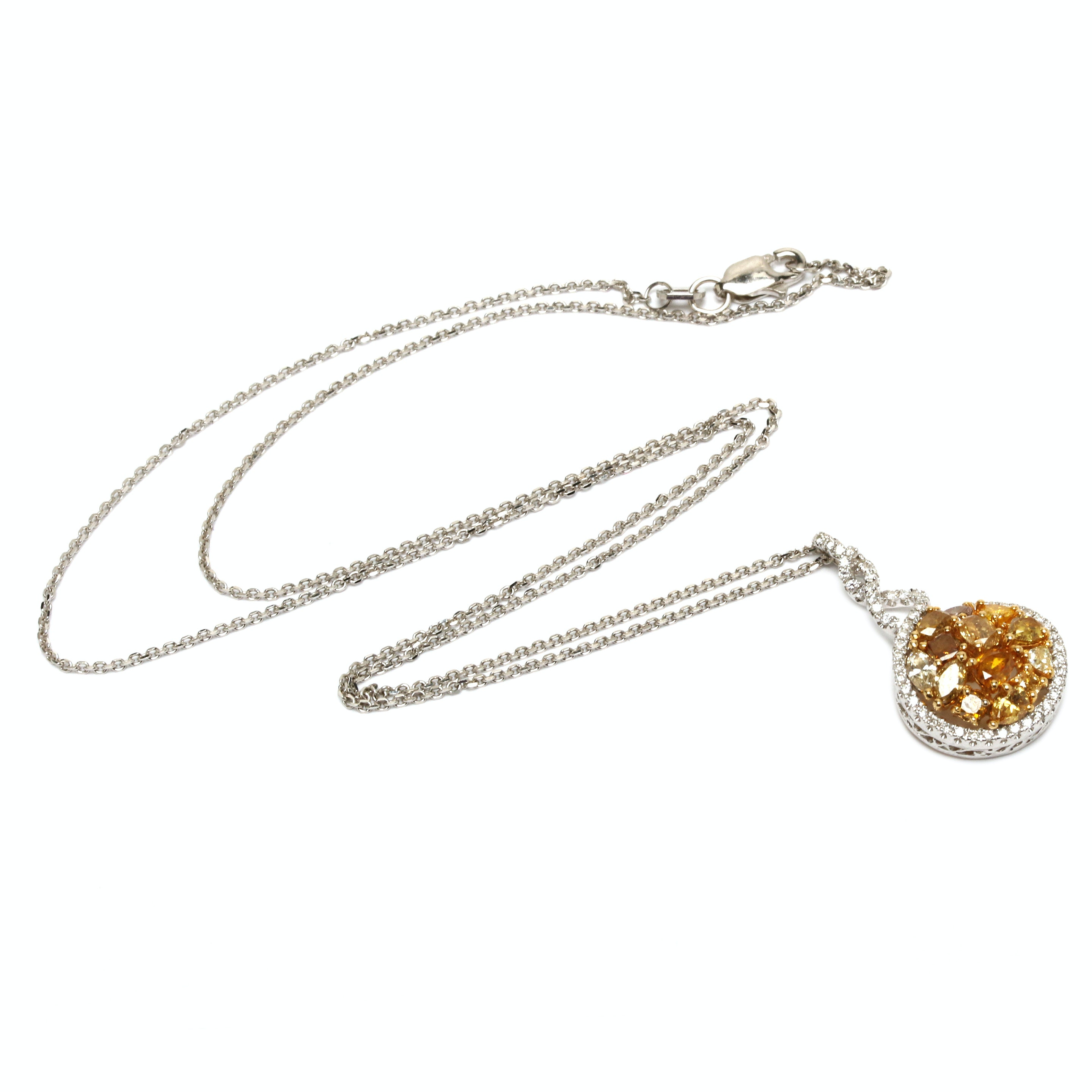 14K and 18K White and Yellow Gold 1.45 CTW Diamond Pendant Necklace