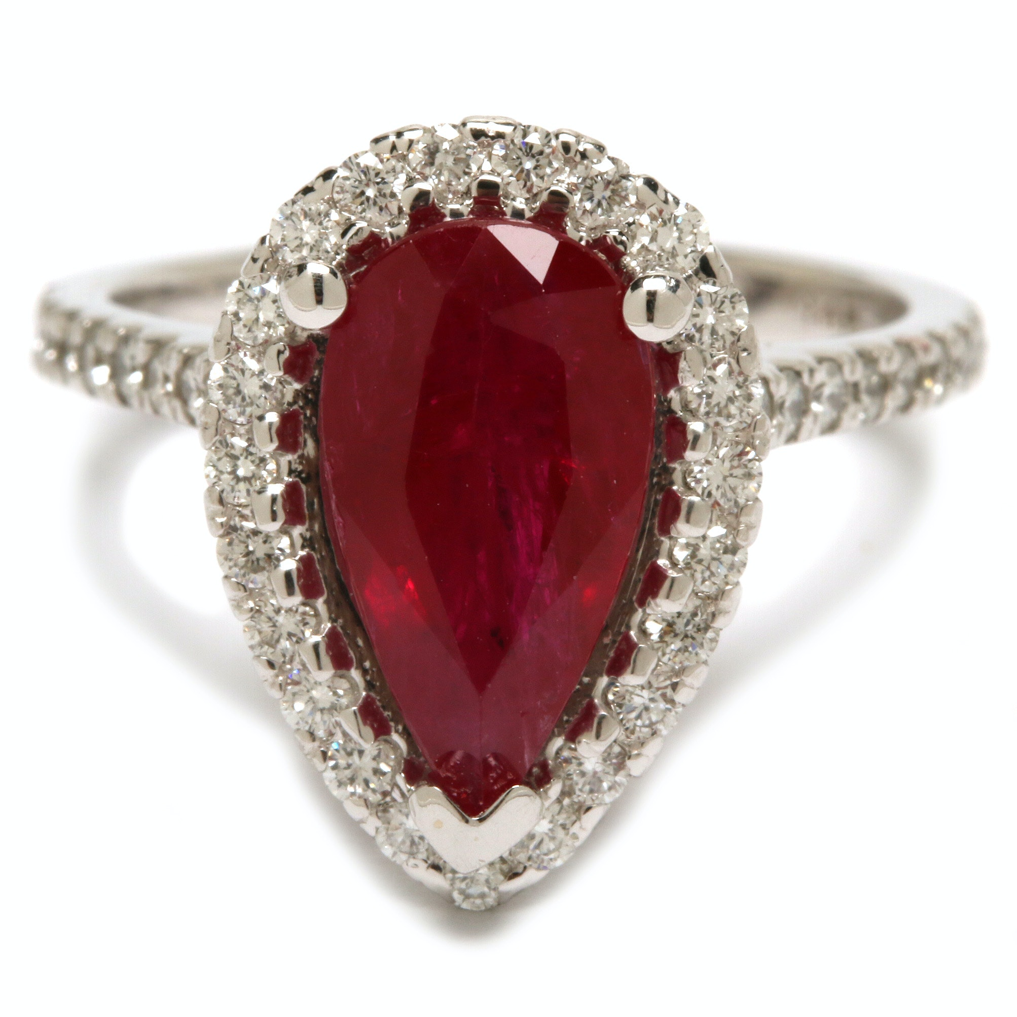 14K White Gold 2.03 CT Ruby and Diamond Ring