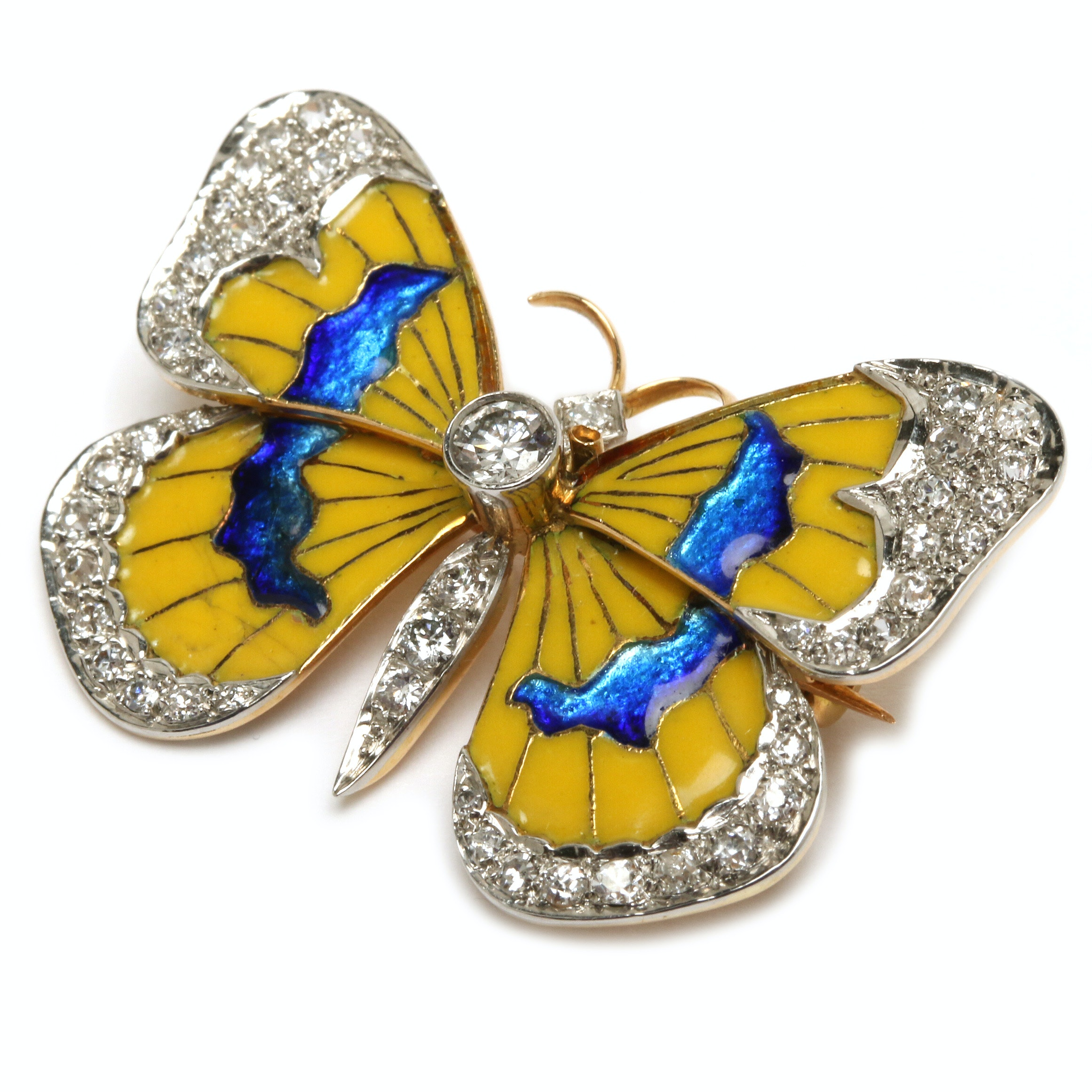 Van Cleef & Arpels 18K Yellow Gold Diamond and Enamel Butterfly Pin