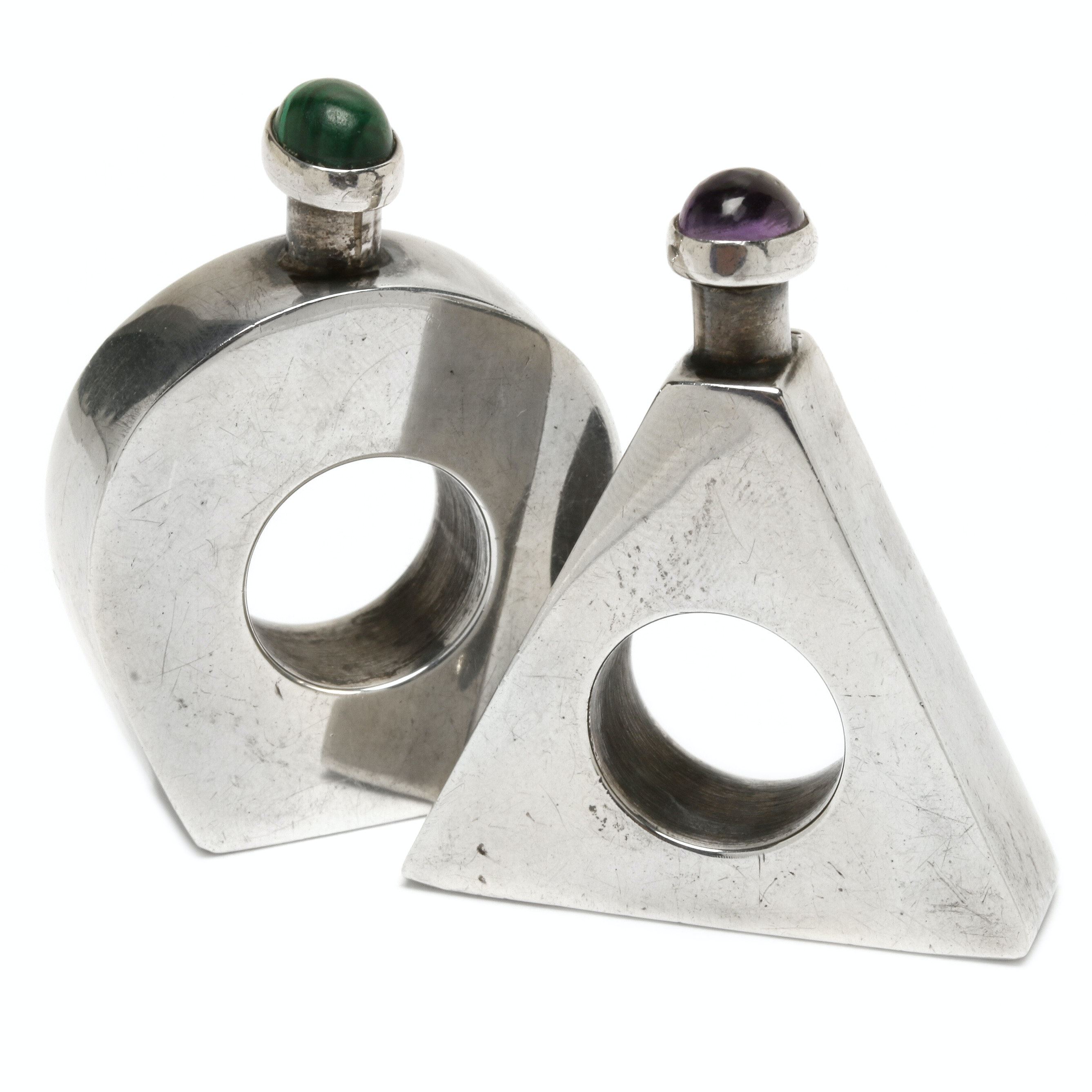 Mexican Sterling Silver Malachite and Amethyst Perfume Bottles