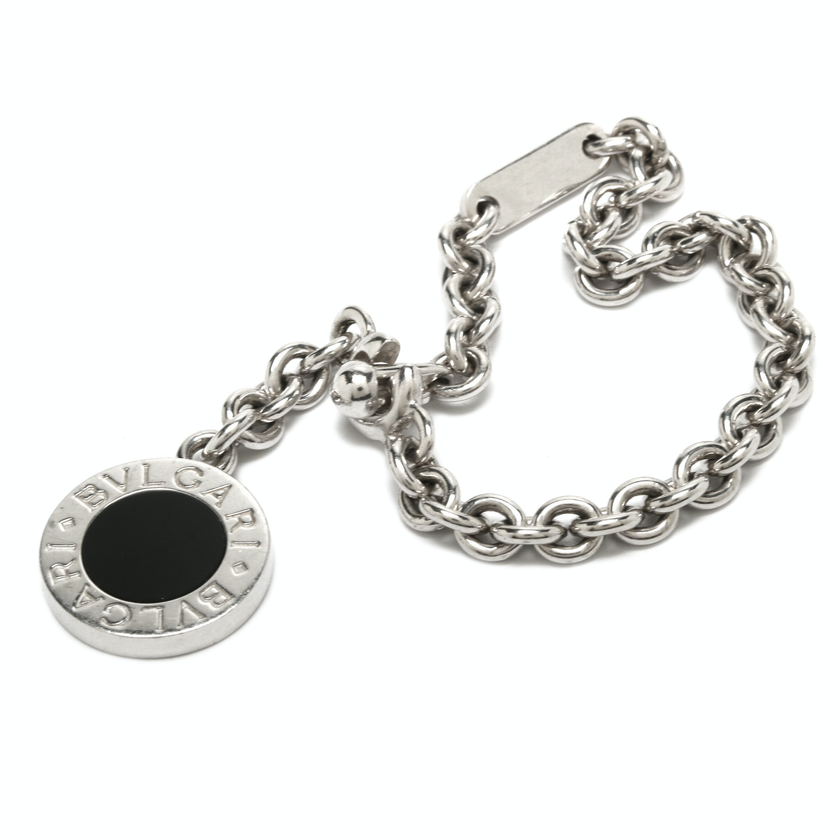 Bulgari Sterling Silver Black Onyx Charm Cable Link Bracelet