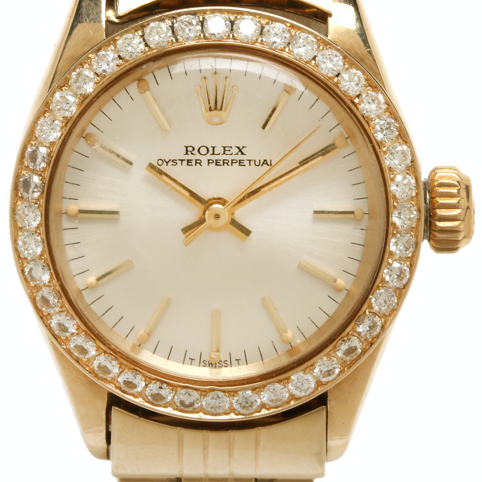 Rolex Oyster Perpetual 14K Yellow Gold Diamond Wristwatch, 1970