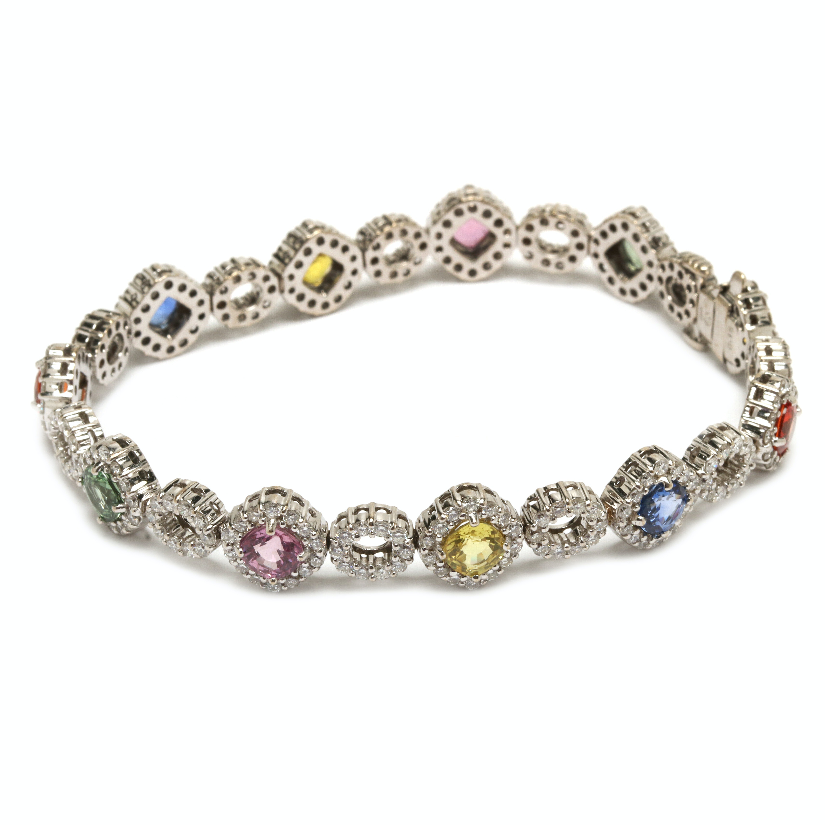 18K White Gold Sapphire, Fancy Sapphire and 3.55 CTW Diamond Bracelet
