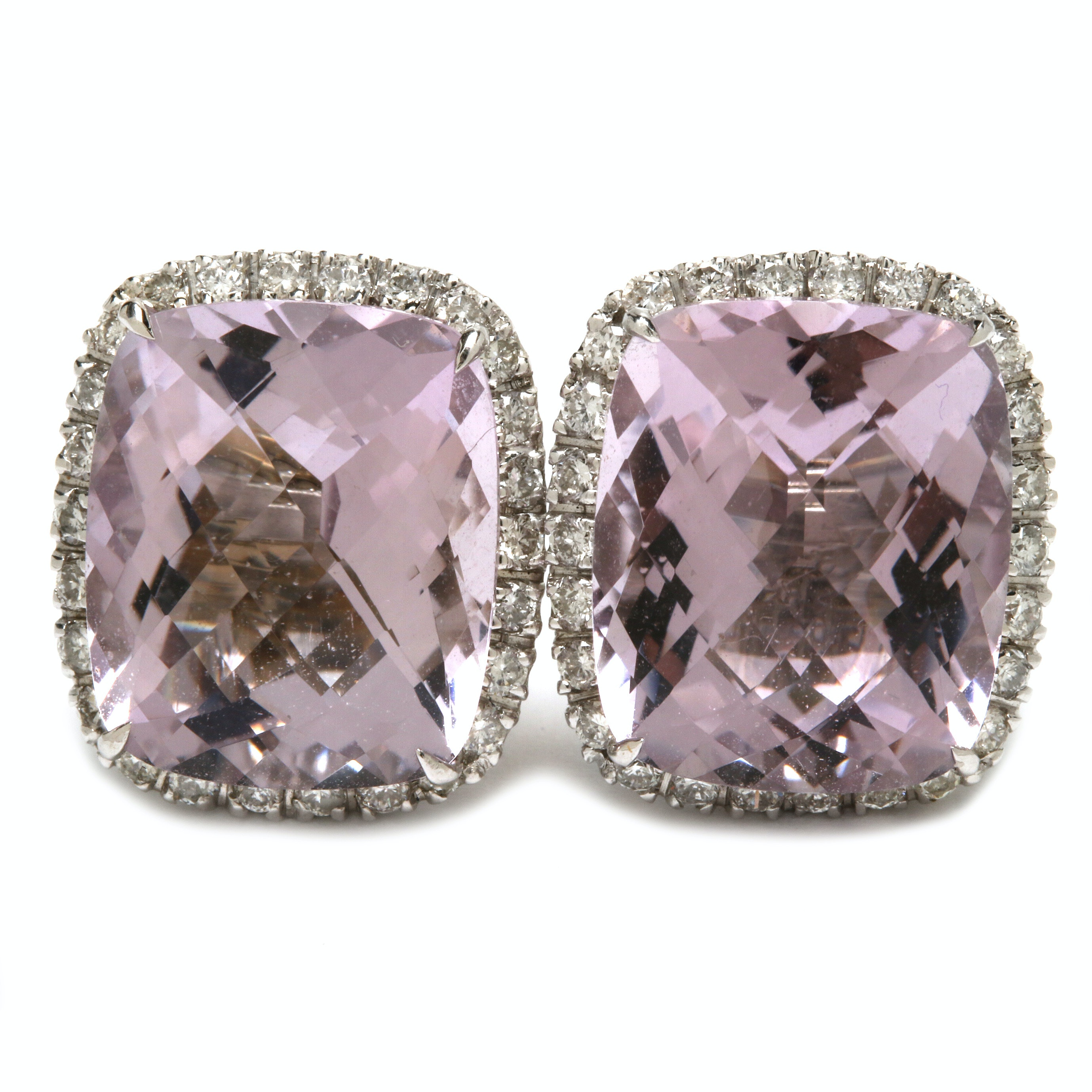 18K White Gold Amethyst and Diamond Halo Earrings