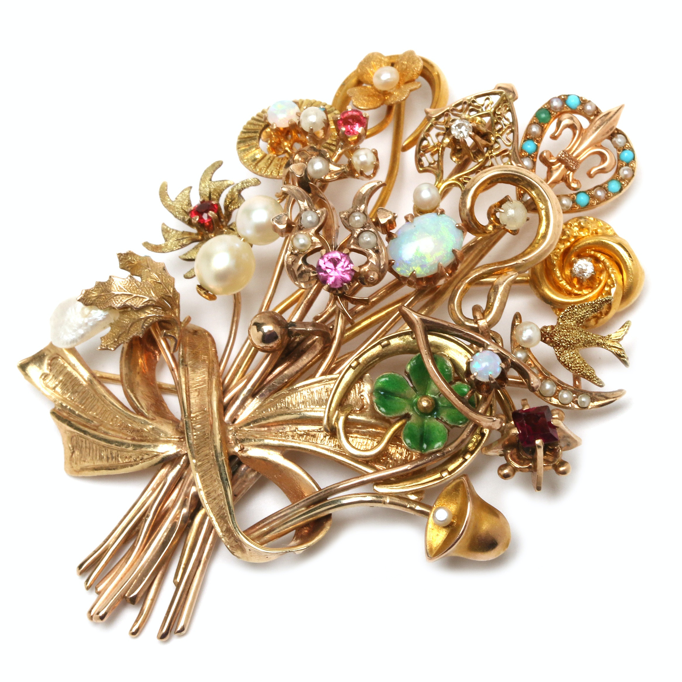 10K, 14K, and 18K Gold Gemstone and Enamel Brooch Including Victorian Components