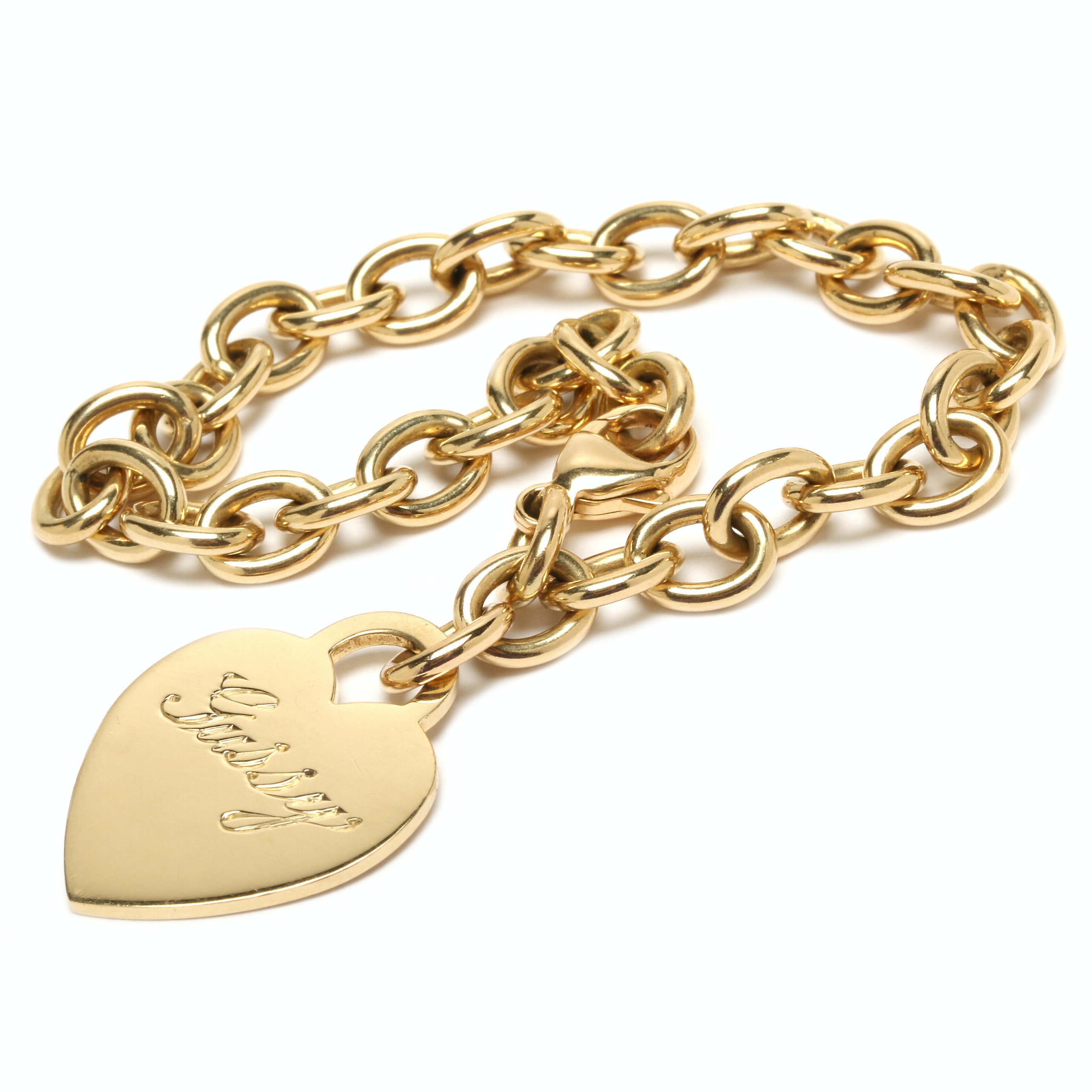 Tiffany and Co 18K Yellow Gold Heart Charm Bracelet