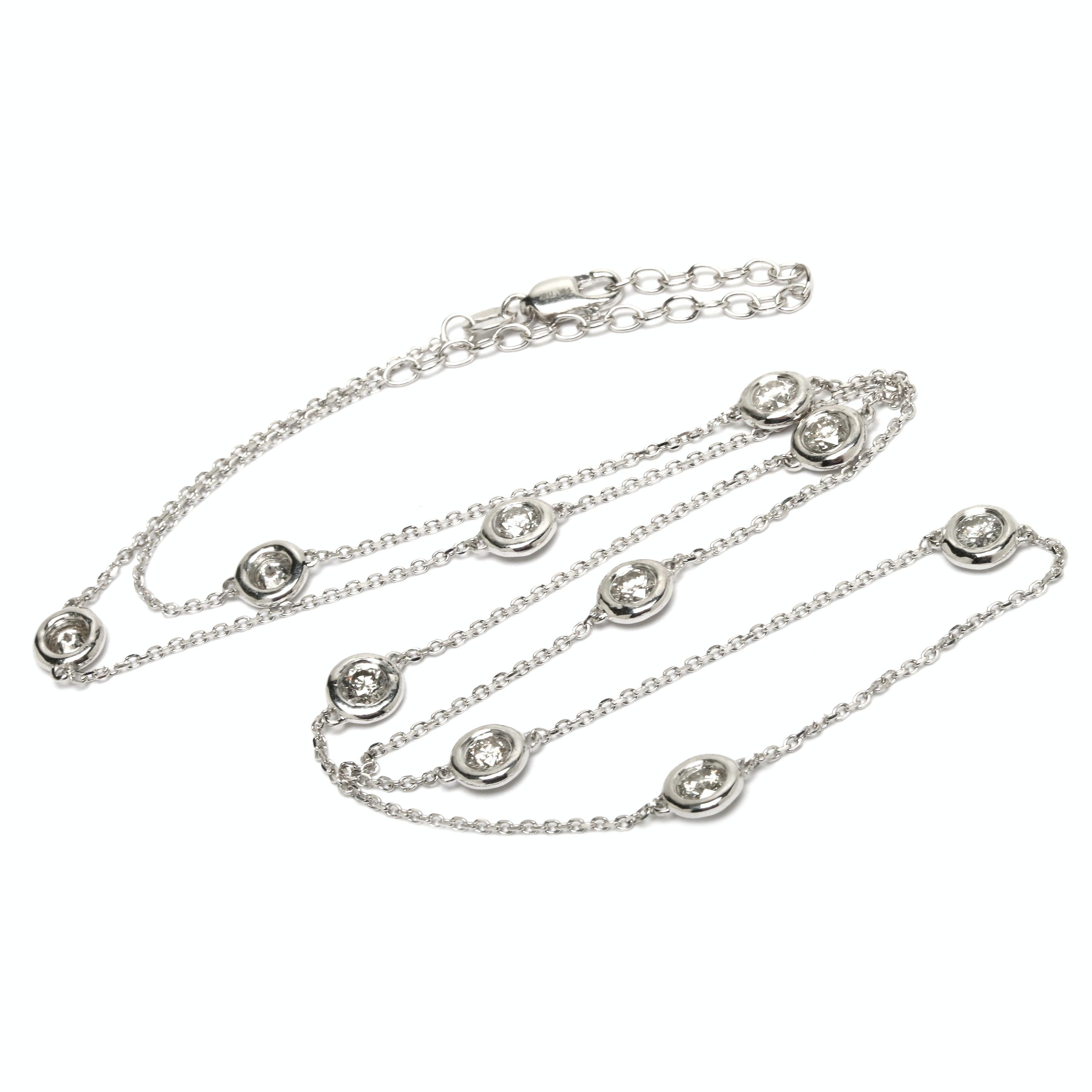 14K White Gold 1.55 CTW Diamond Station Necklace