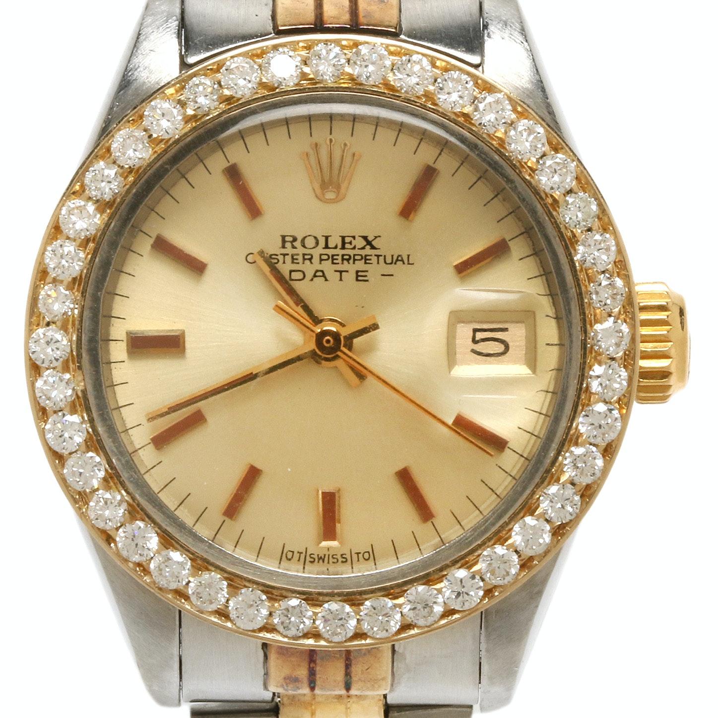 Rolex Date 18K Yellow Gold Wristwatch With 1.00 CTW Diamond Bezel, 1973